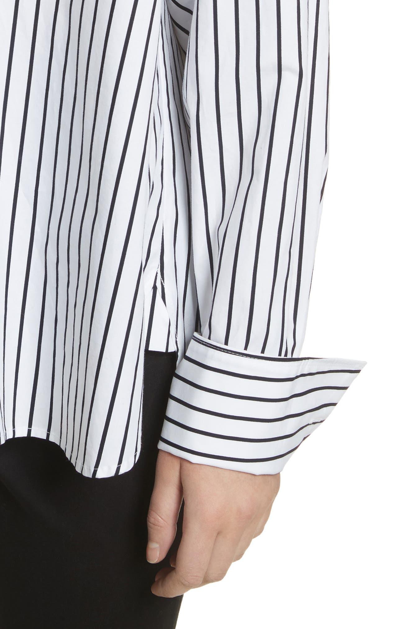 Stripe Cotton Blouse,                             Alternate thumbnail 4, color,                             Navy Multi