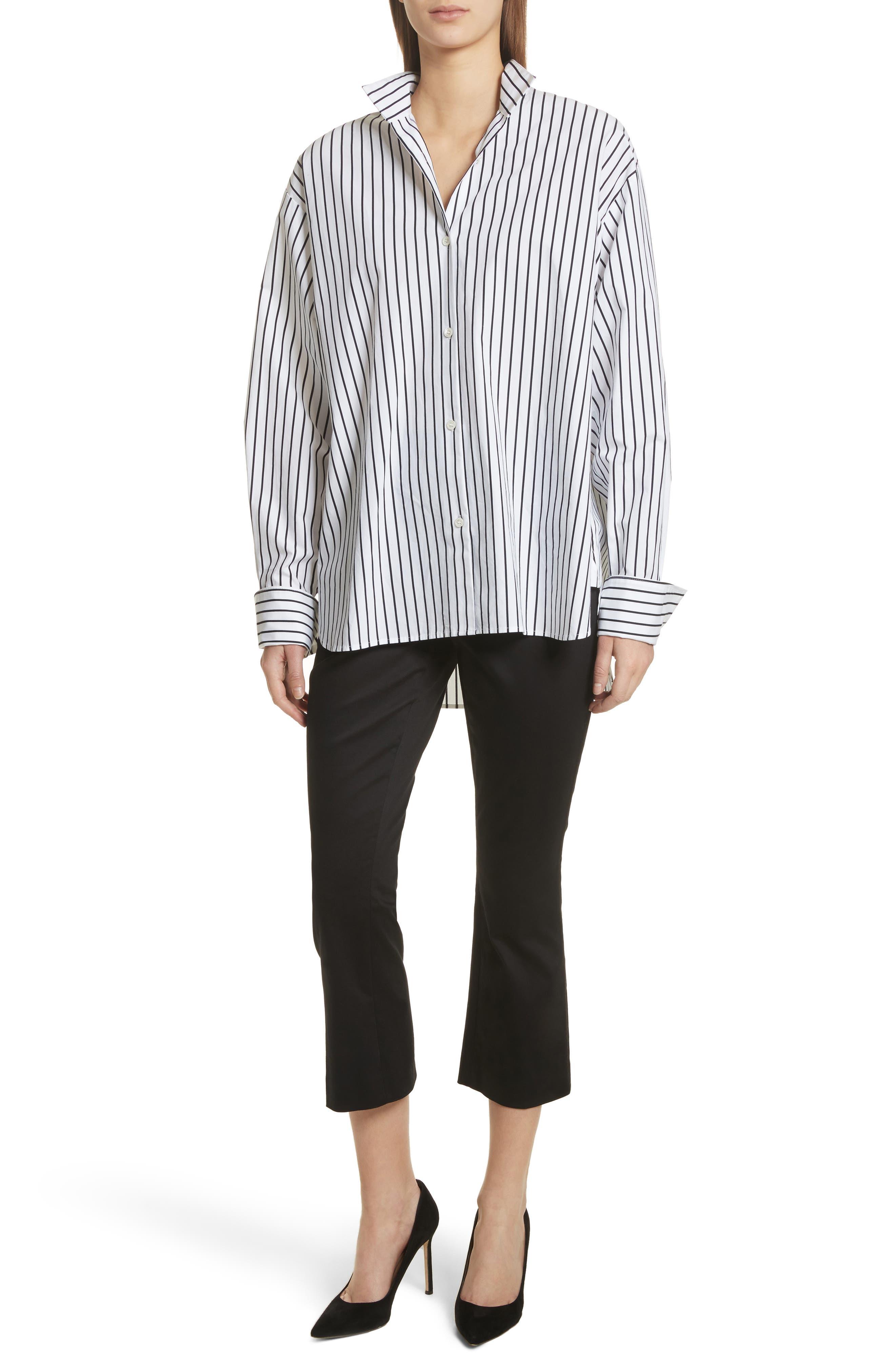Stripe Cotton Blouse,                             Alternate thumbnail 7, color,                             Navy Multi