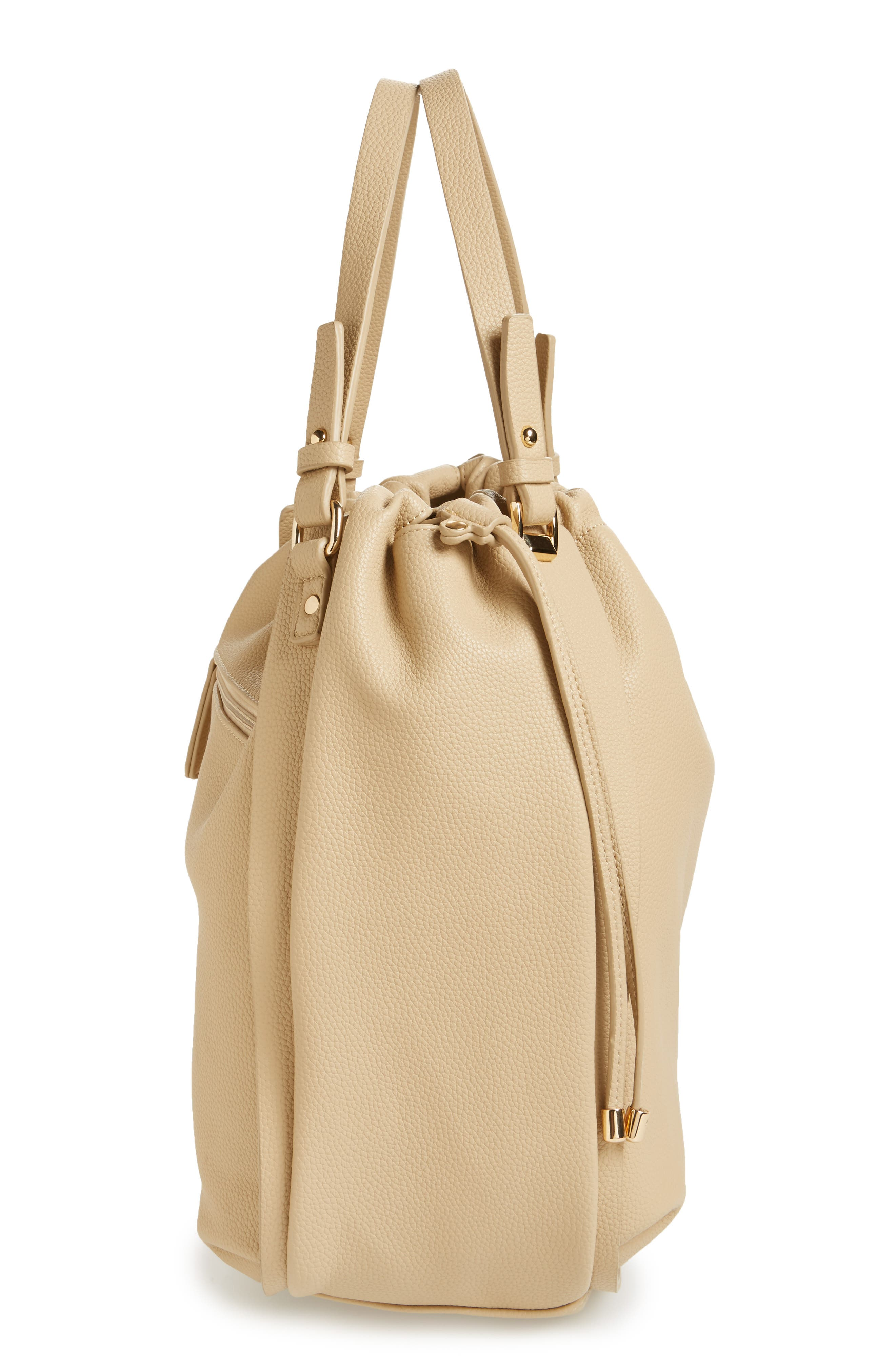 Faux Leather Drawstring Tote,                             Alternate thumbnail 5, color,                             Taupe