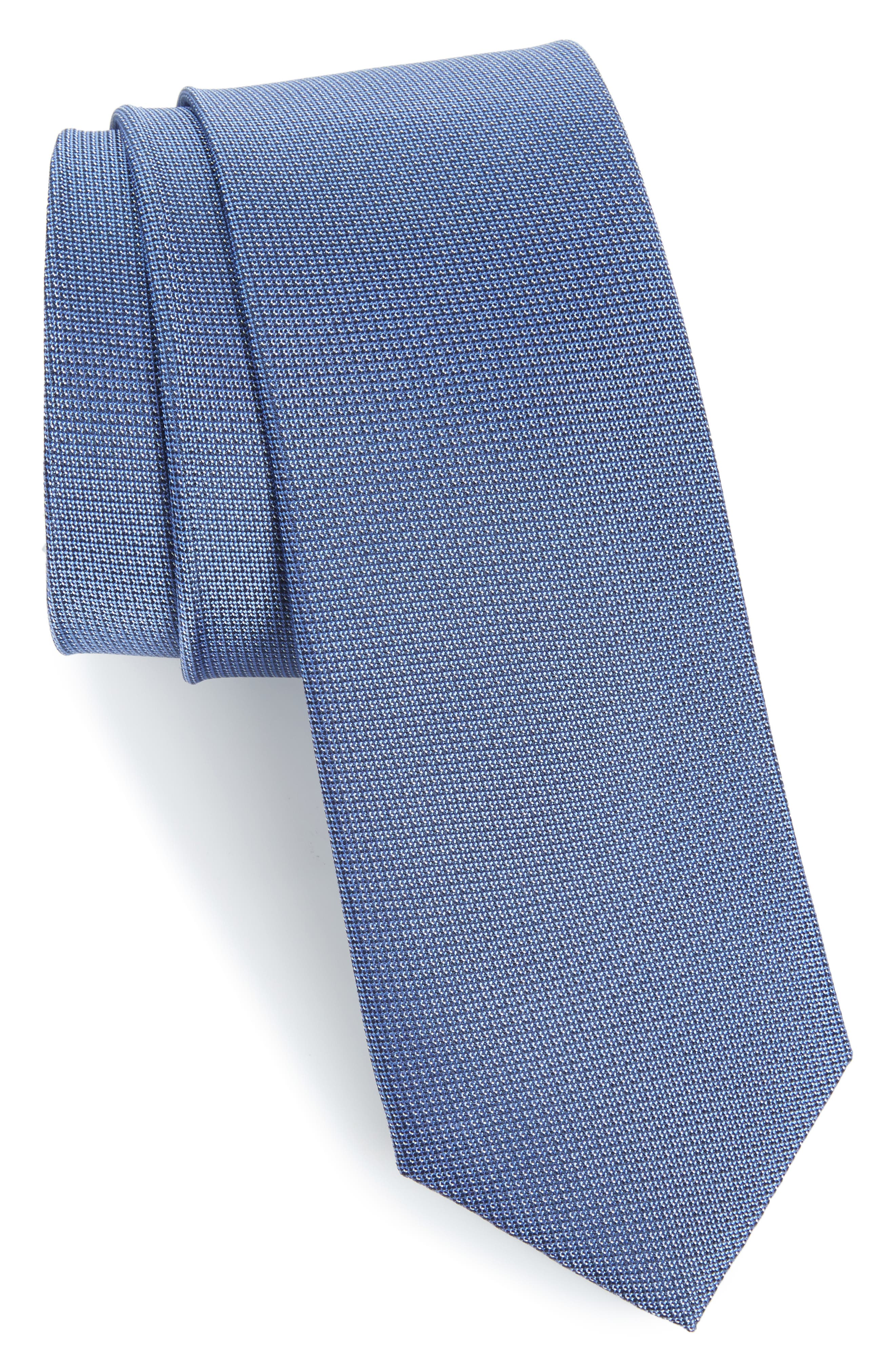 Main Image - Calibrate Eternity Unsolid Solid Silk Skinny Tie