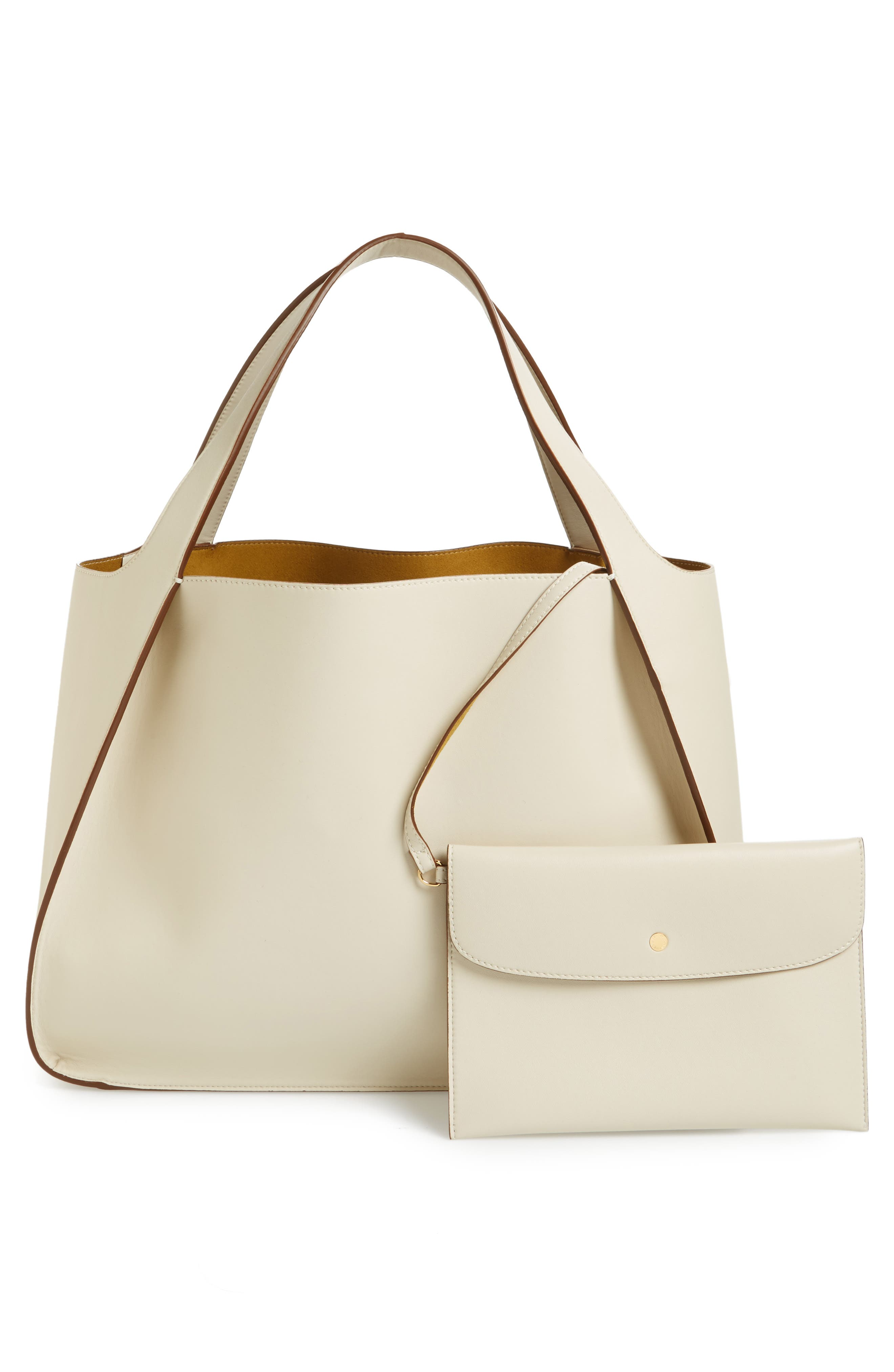 Medium Perforated Logo Faux Leather Tote,                             Alternate thumbnail 3, color,                             Pure White