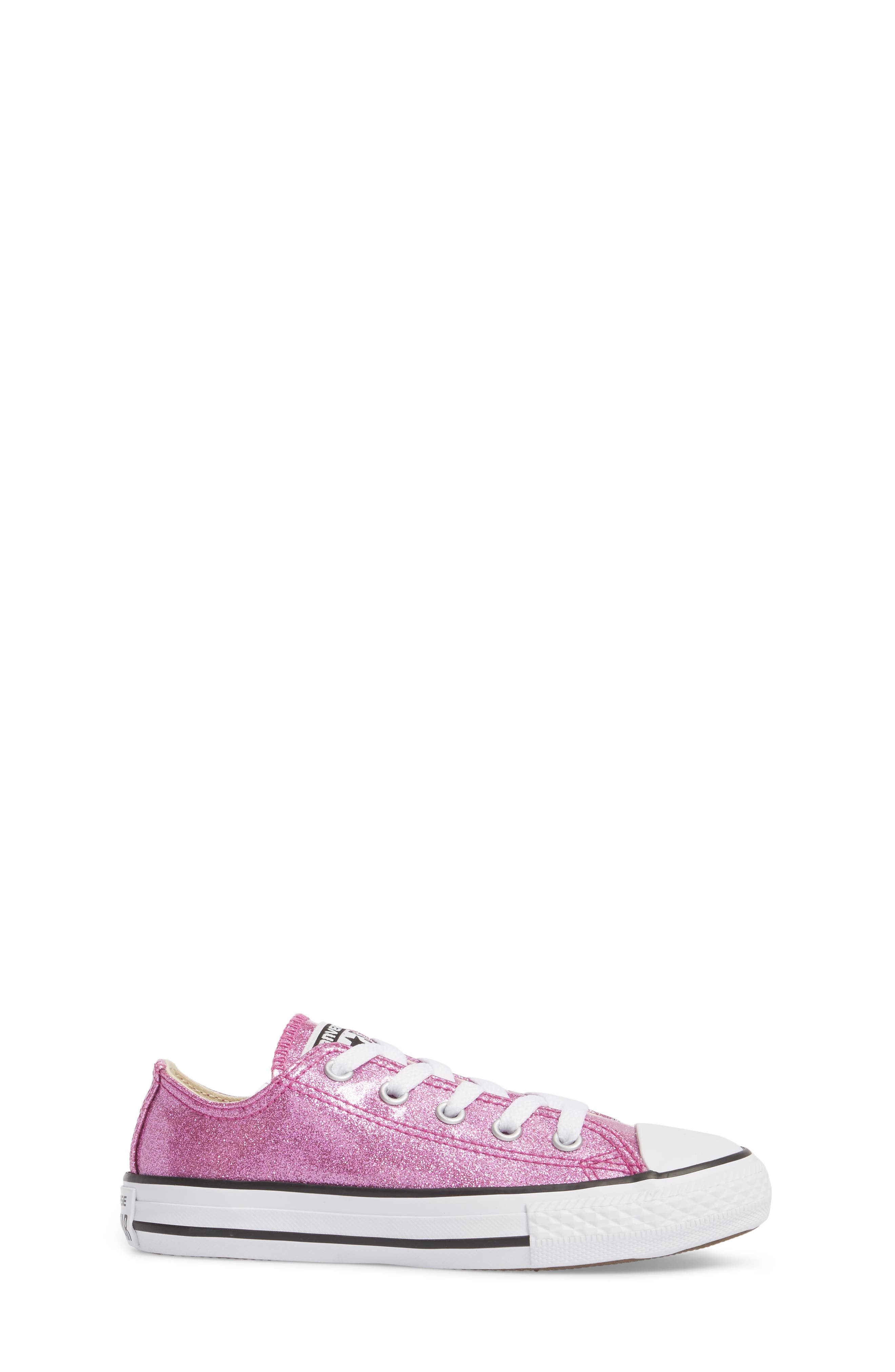 All Star<sup>®</sup> Seasonal Glitter OX Low Top Sneaker,                             Alternate thumbnail 3, color,                             Bright Violet