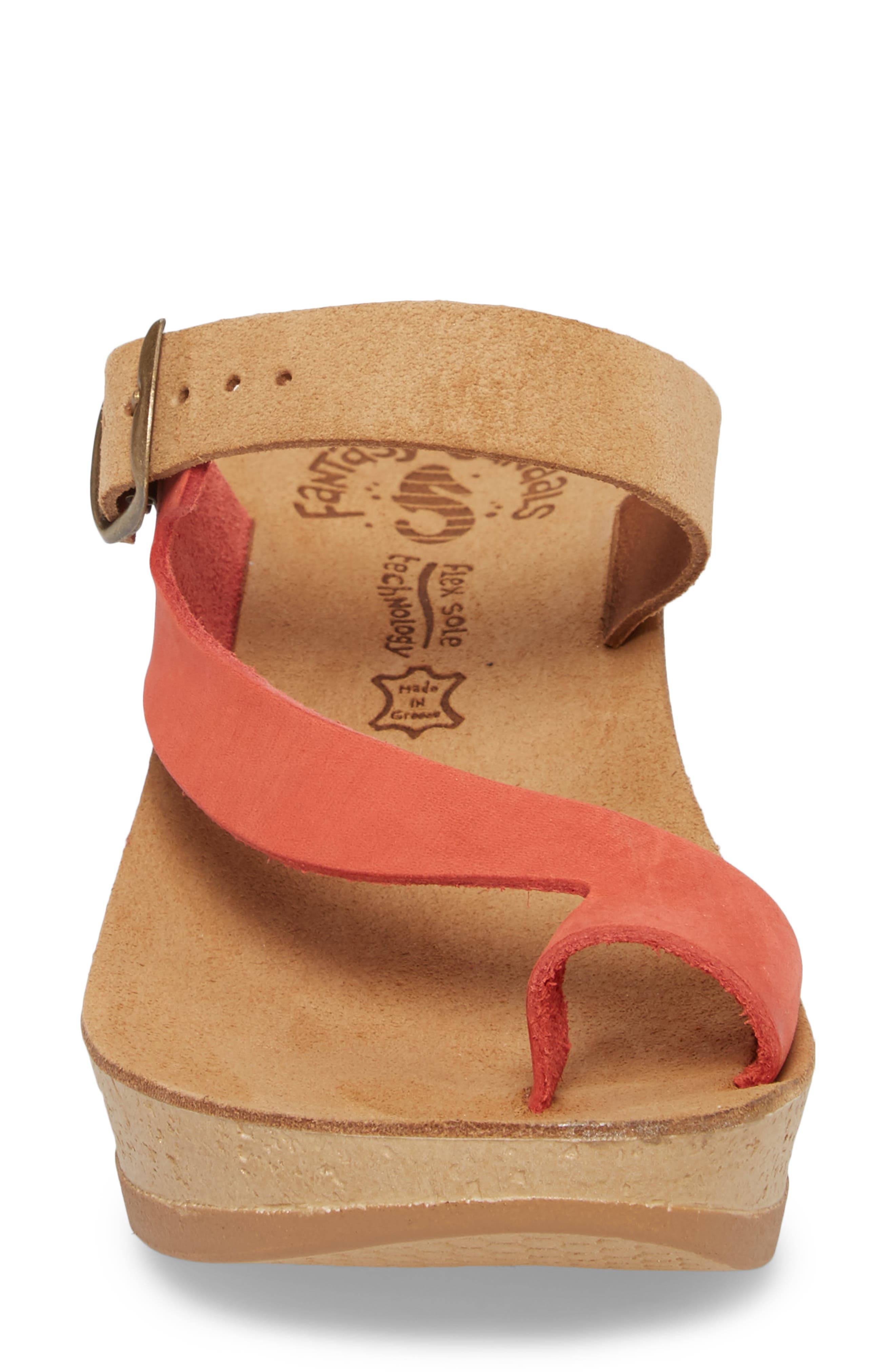 Felisa Wedge Sandal,                             Alternate thumbnail 4, color,                             Cuoio Red Leather