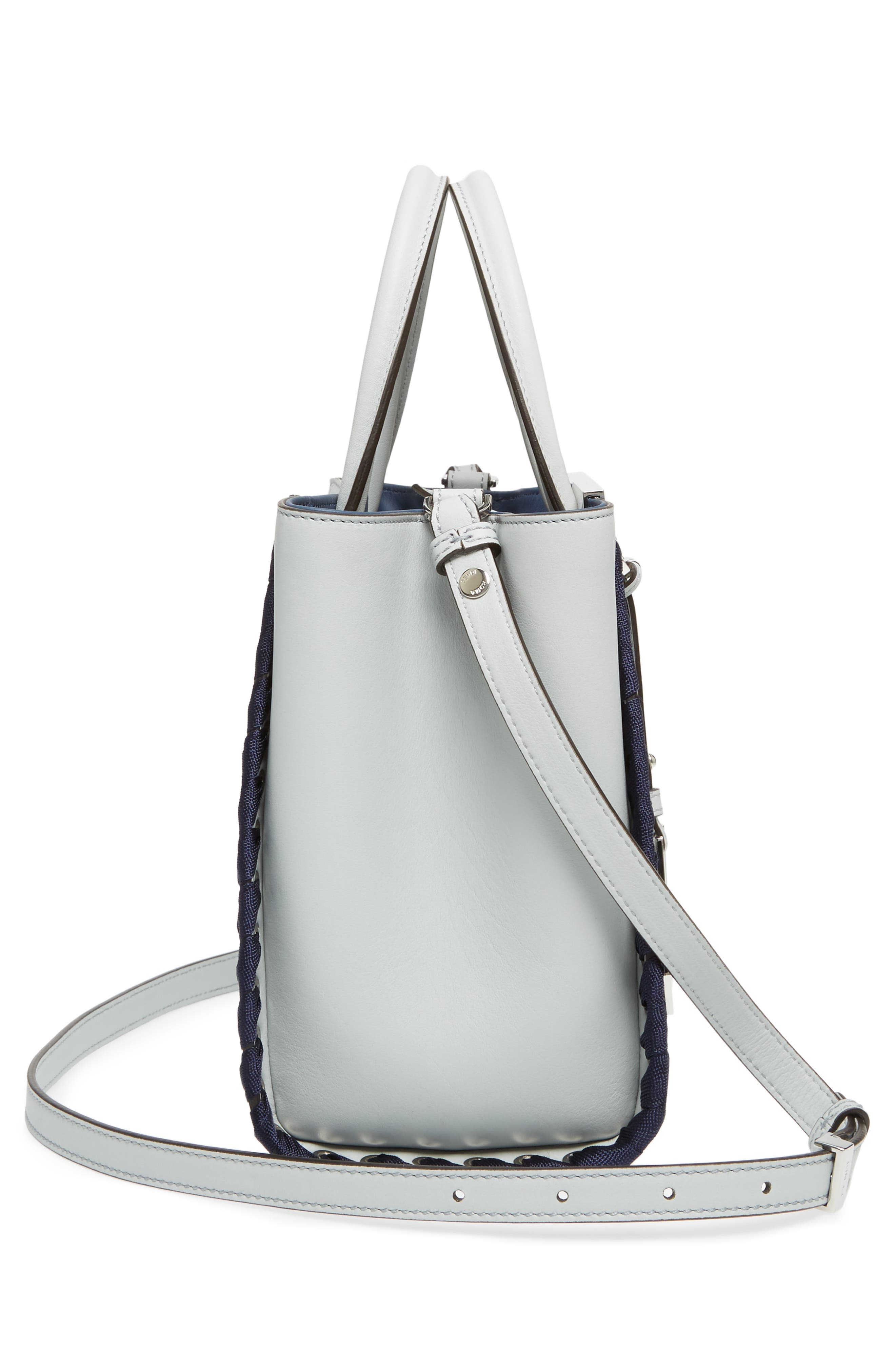 Petite 2Jours Whipstich Leather Shopper,                             Alternate thumbnail 5, color,                             Pearl Grey