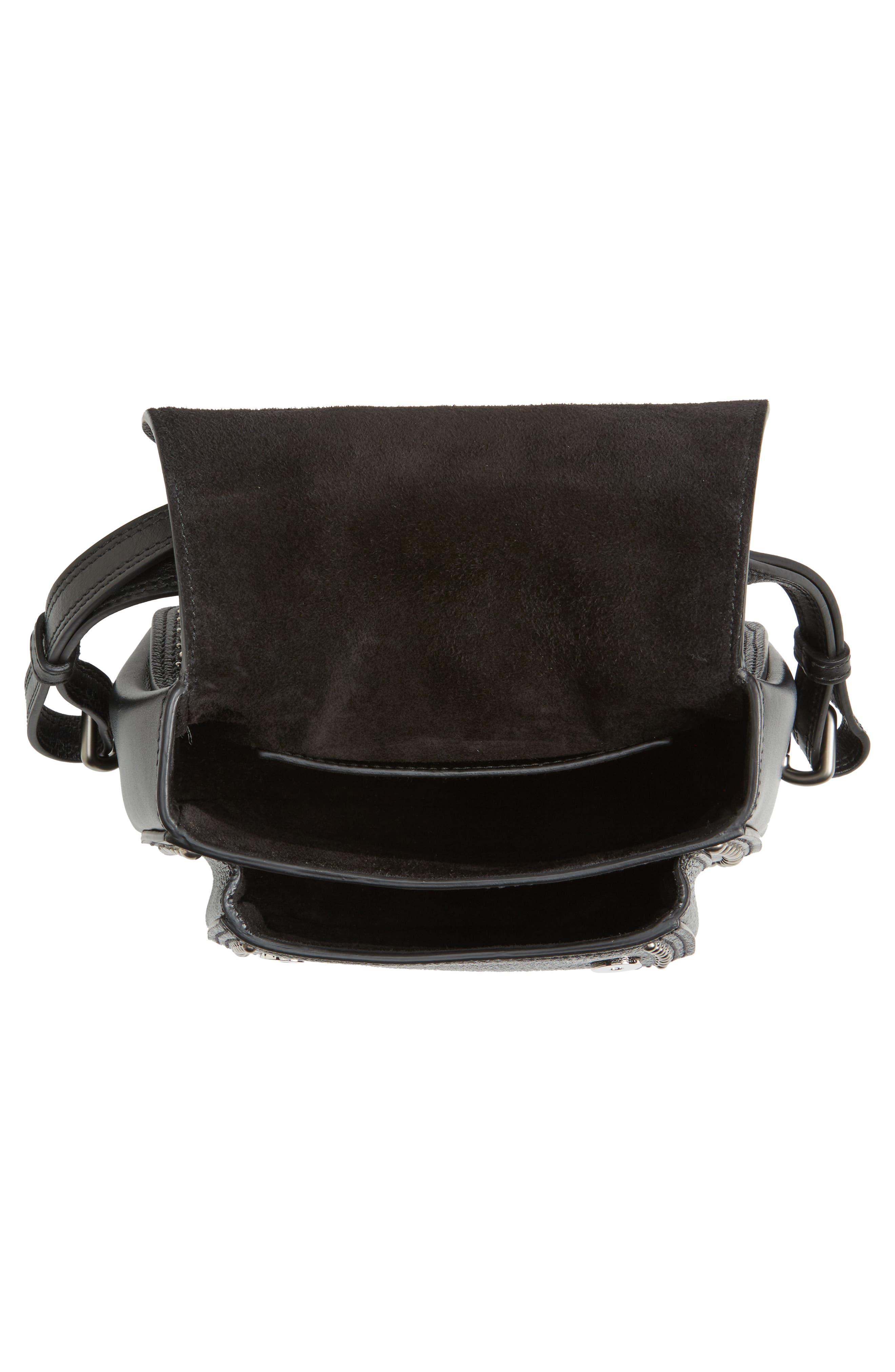 Dahlia Leather Shoulder Bag,                             Alternate thumbnail 4, color,                             Nero