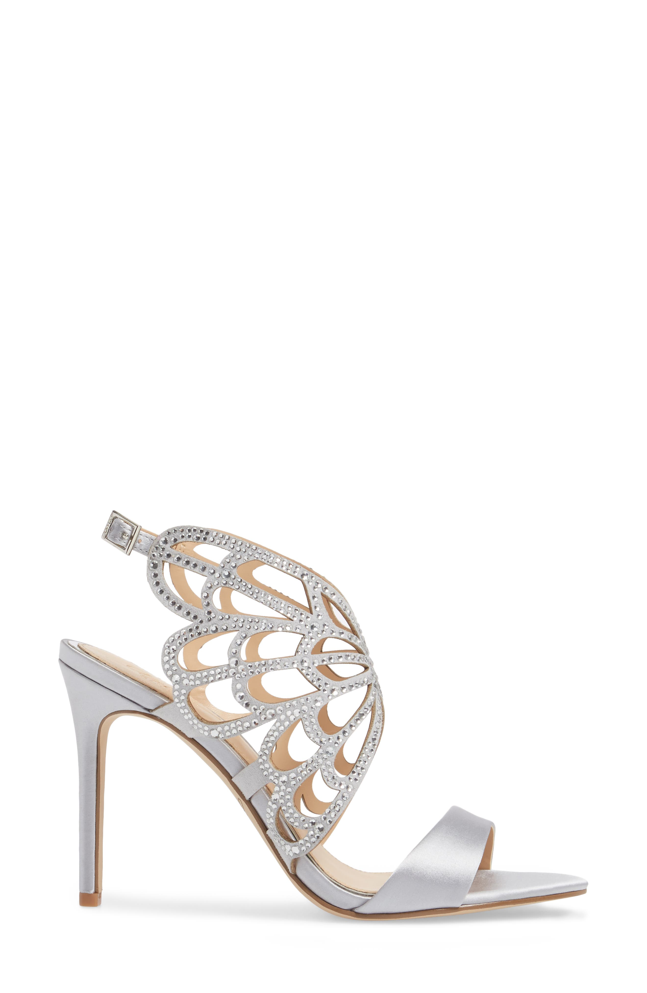 Taresa Crystal Embellished Butterfly Sandal,                             Alternate thumbnail 3, color,                             Silver Satin