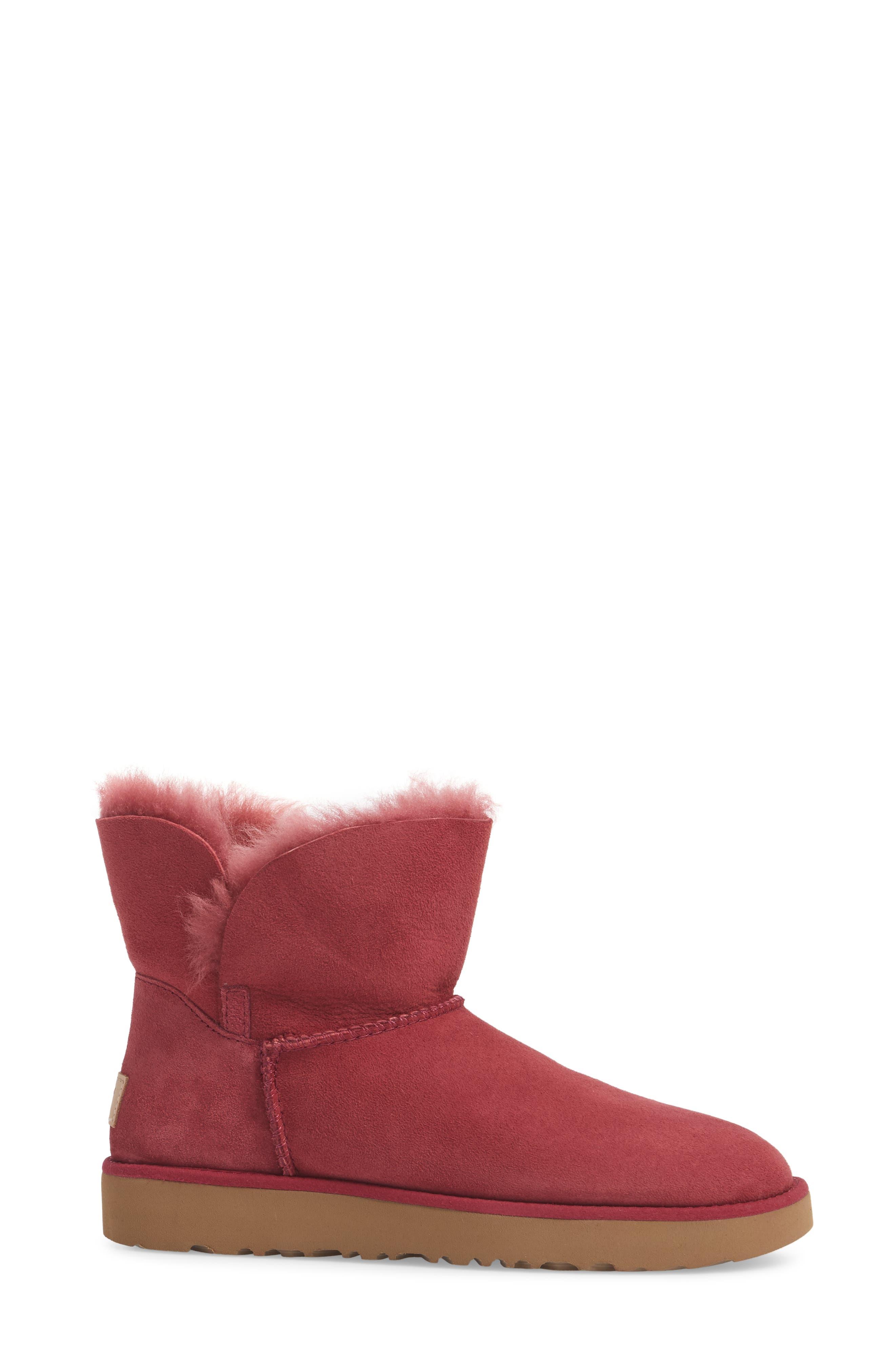 Classic Cuff Mini Boot,                             Alternate thumbnail 3, color,                             Garnet Suede