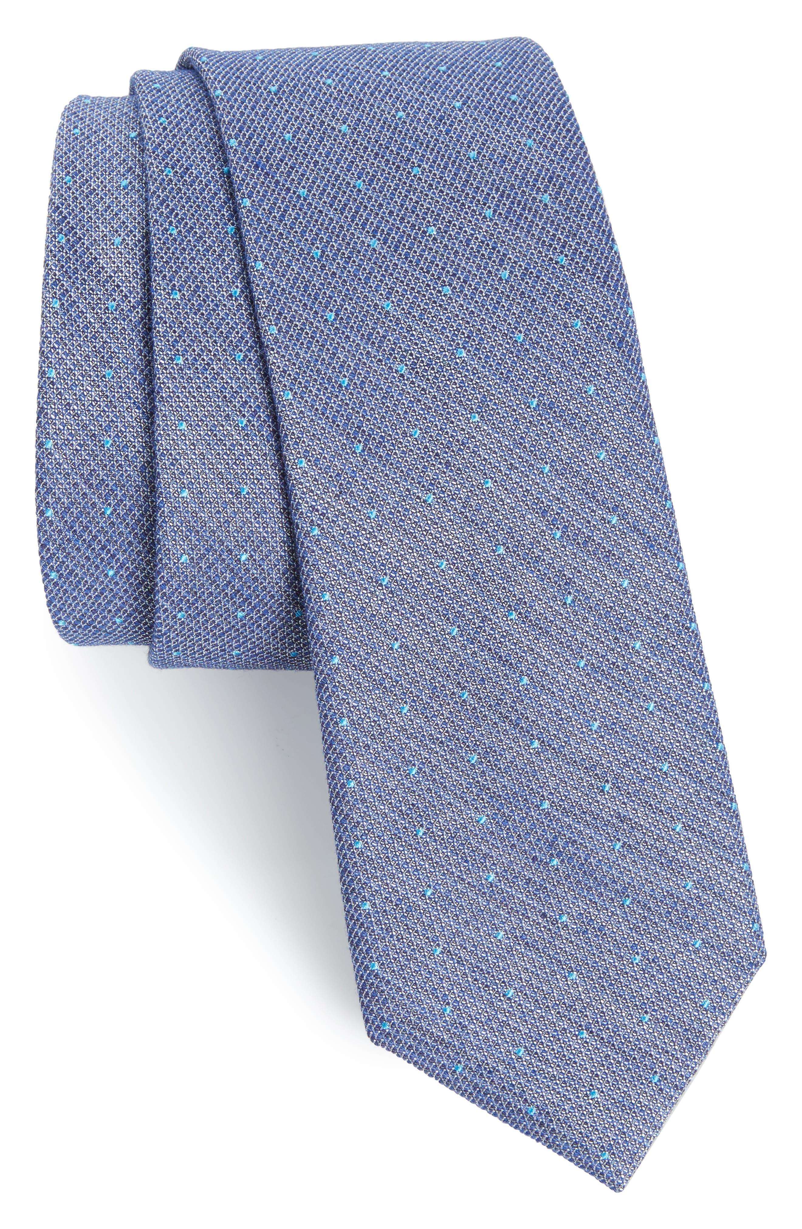 Dot Silk Blend Skinny Tie,                             Main thumbnail 1, color,                             Aqua/ Teal