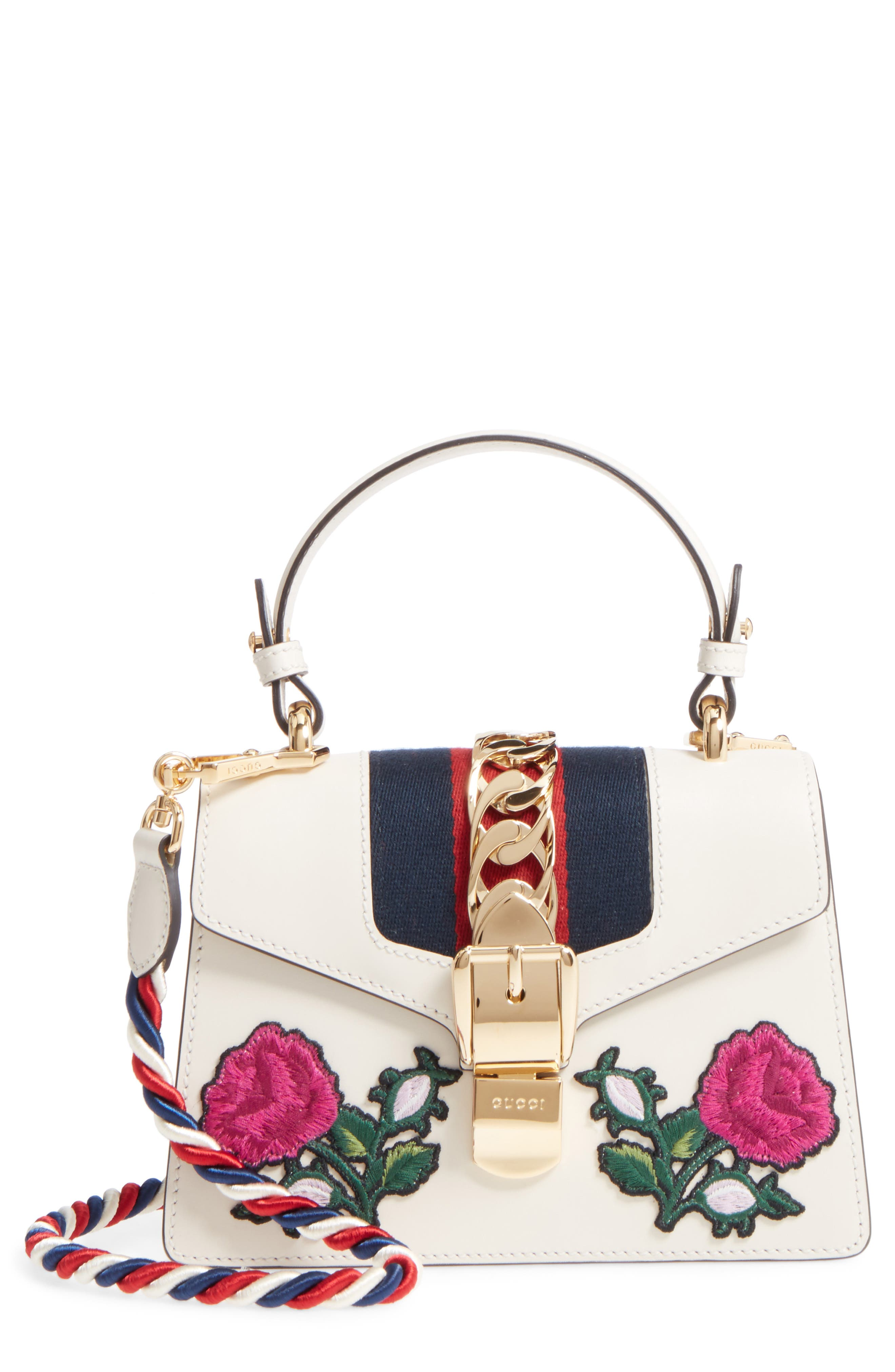 Main Image - Gucci Mini Sylvie Embroidered Floral Leather Shoulder Bag