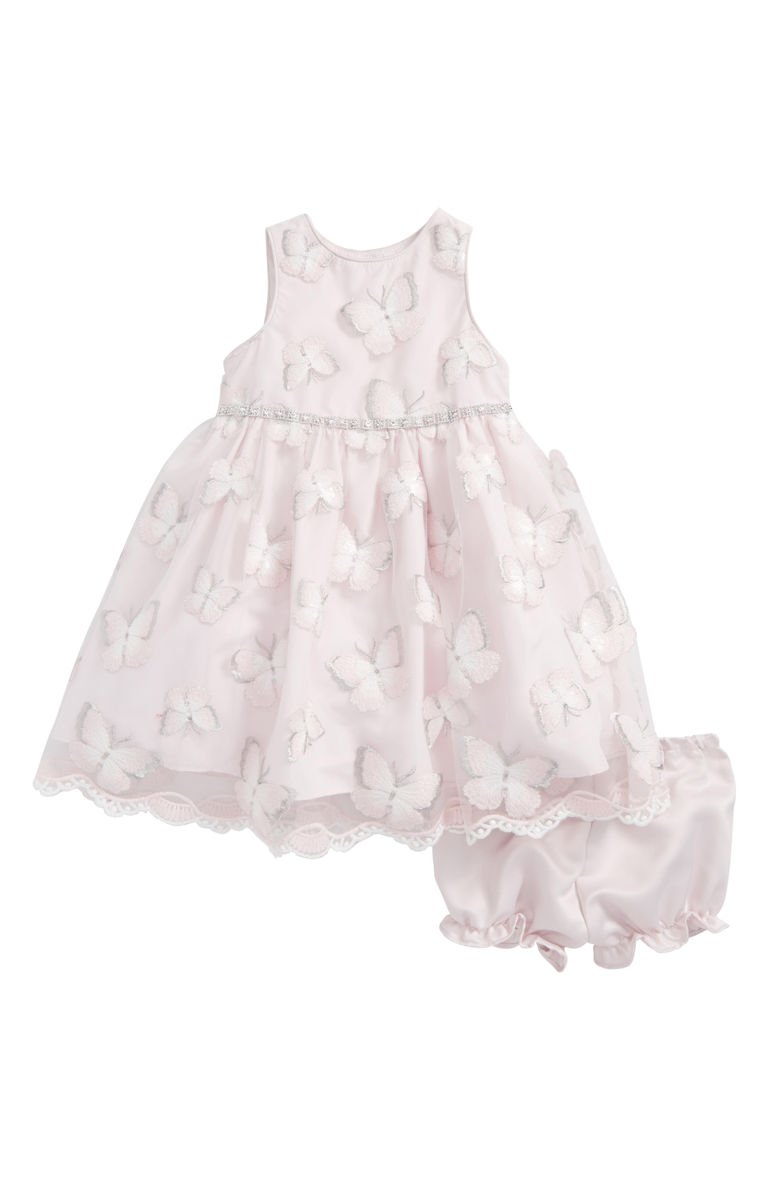 Alternate Image 1 Selected - Pippa & Julie Embroidered Butterfly Dress (Baby Girls)