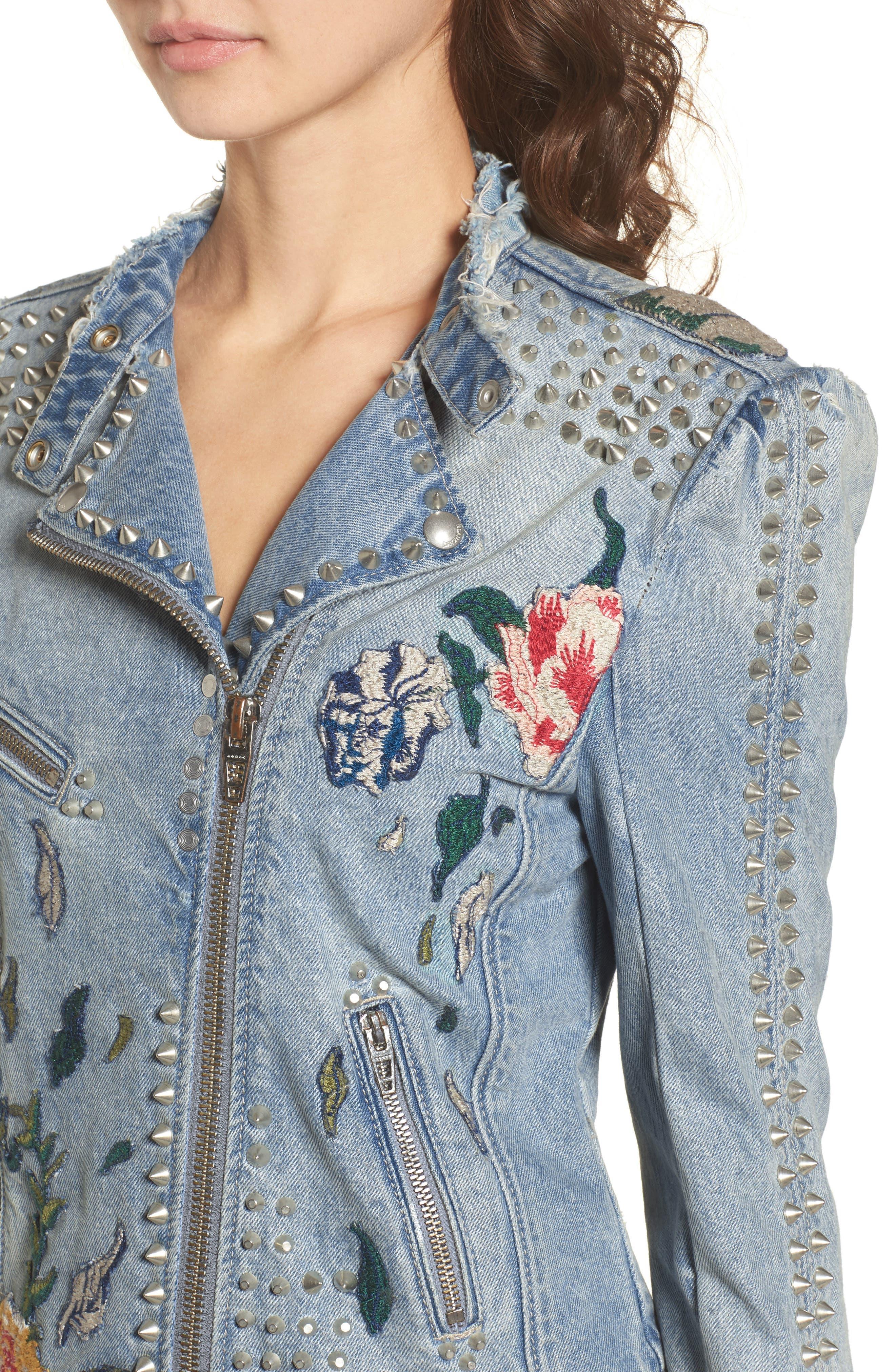 Alternate Image 4  - BLANKNYC Sea of Flowers Studded Denim Moto Jacket