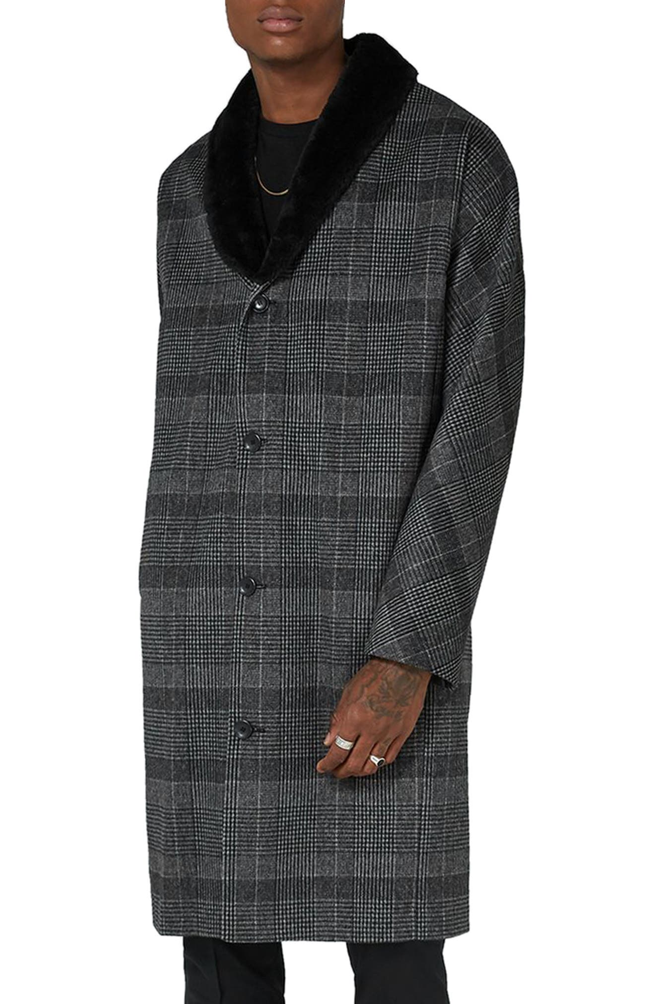 Topman Faux Fur Collar Prince of Wales Check Coat