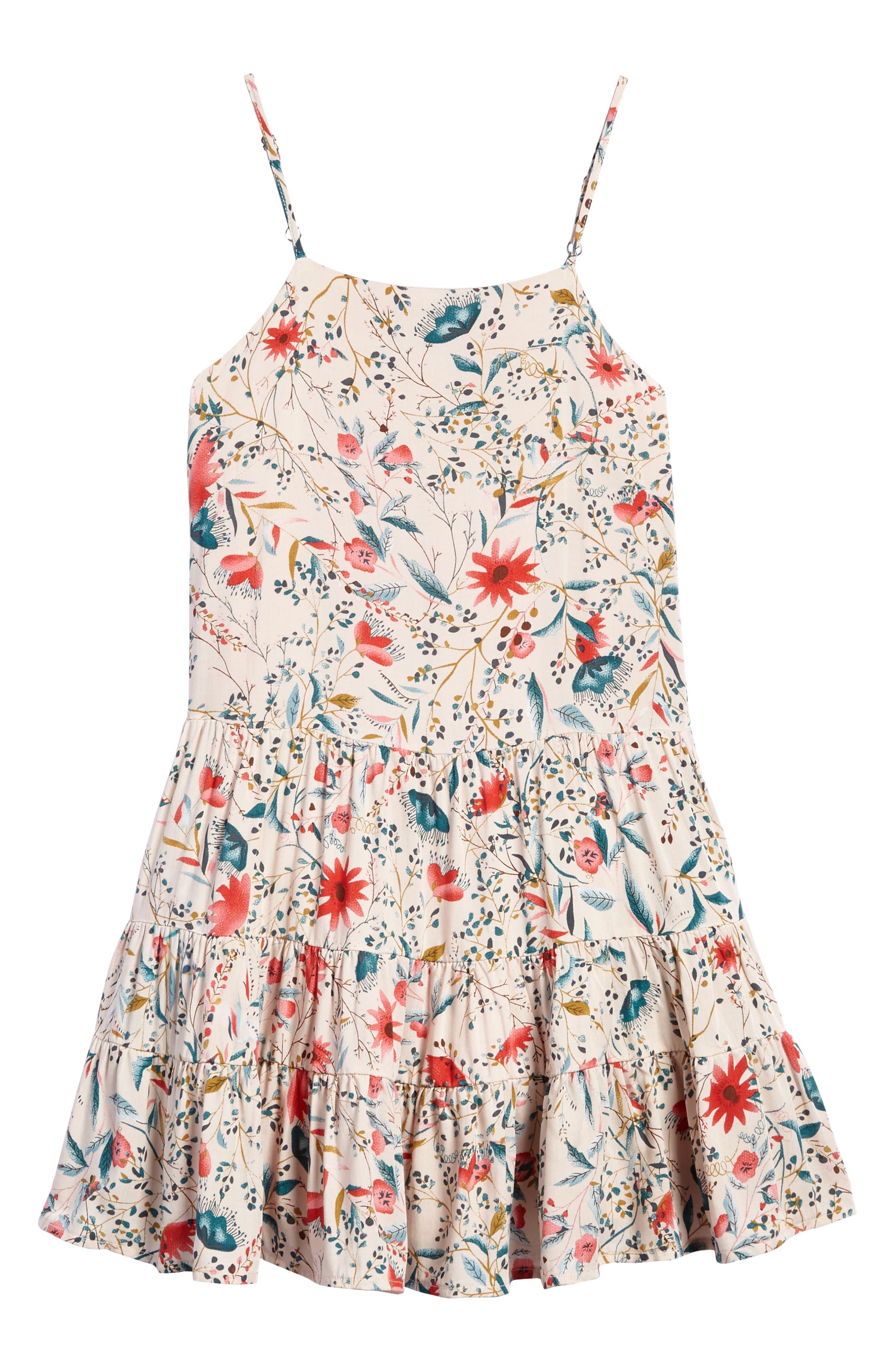 Alternate Image 1 Selected - For All Seasons Print Flounce Sundress (Big Girls)