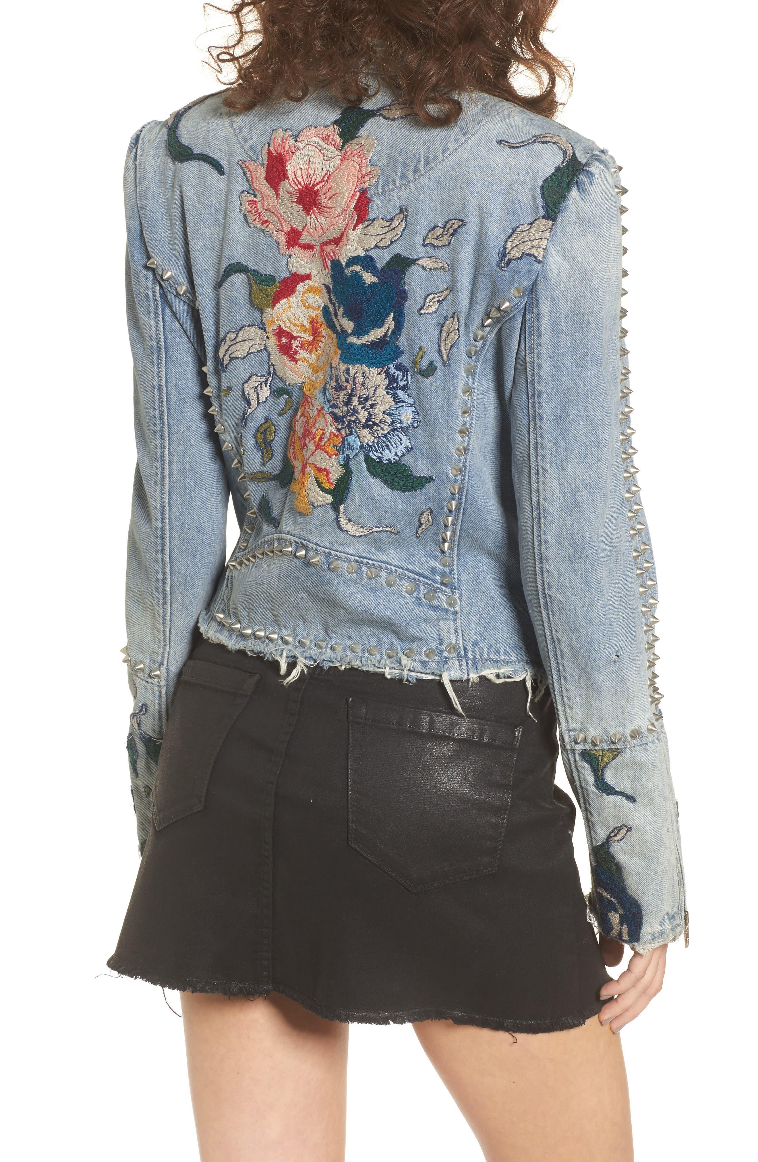 Alternate Image 2  - BLANKNYC Sea of Flowers Studded Denim Moto Jacket