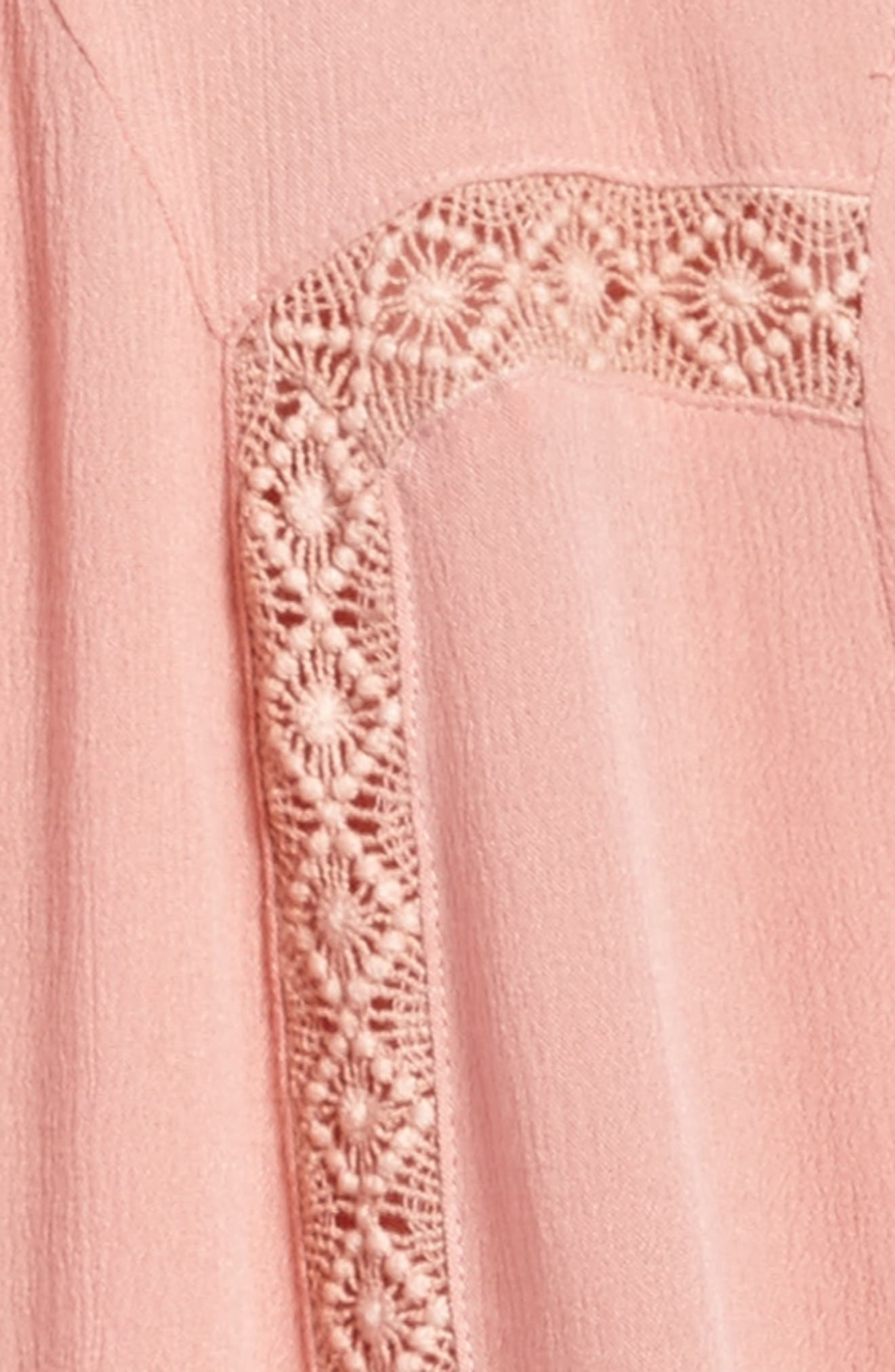 Lace Trim Trapeze Dress,                             Alternate thumbnail 3, color,                             Coral