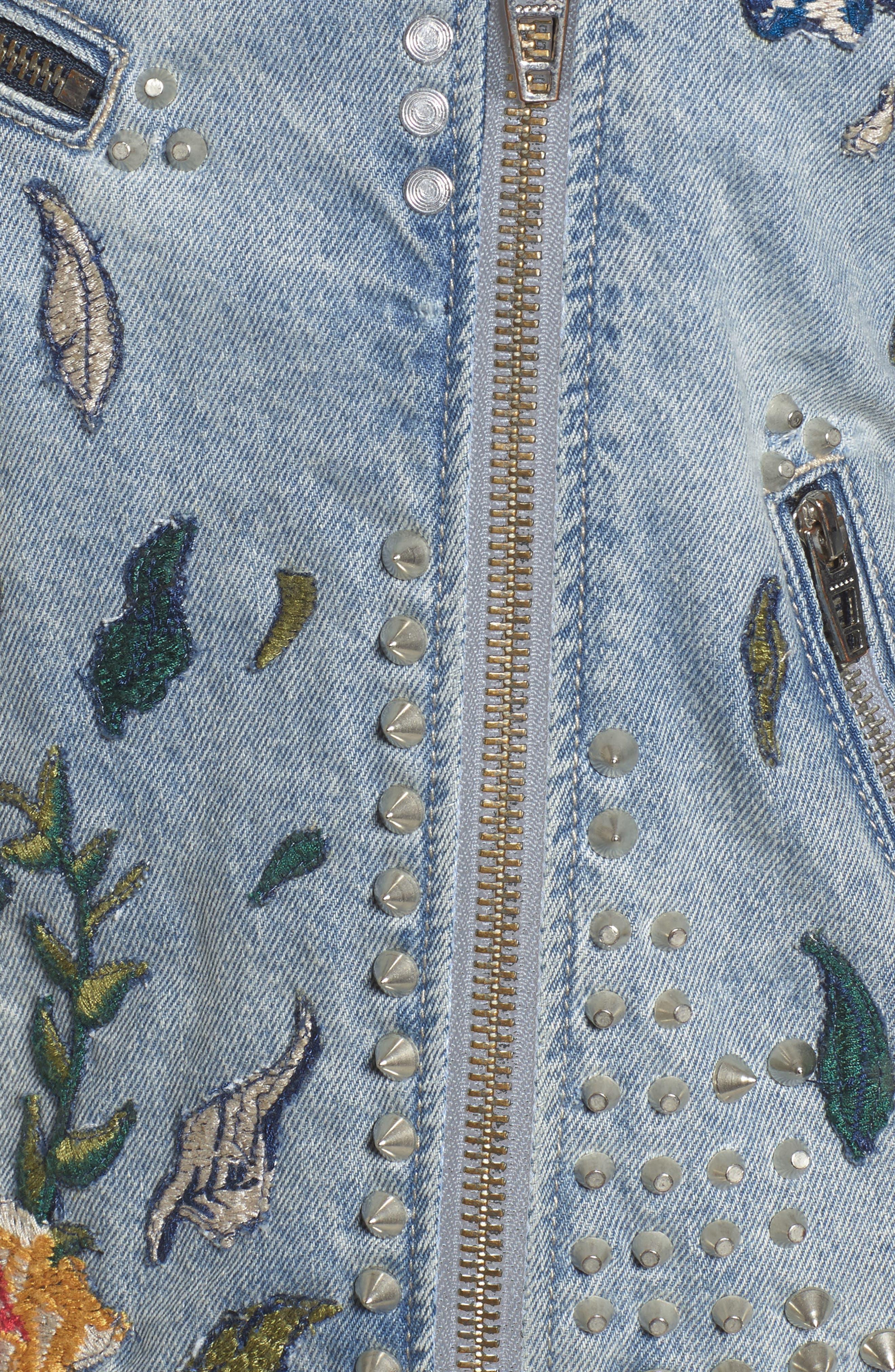 Alternate Image 5  - BLANKNYC Sea of Flowers Studded Denim Moto Jacket