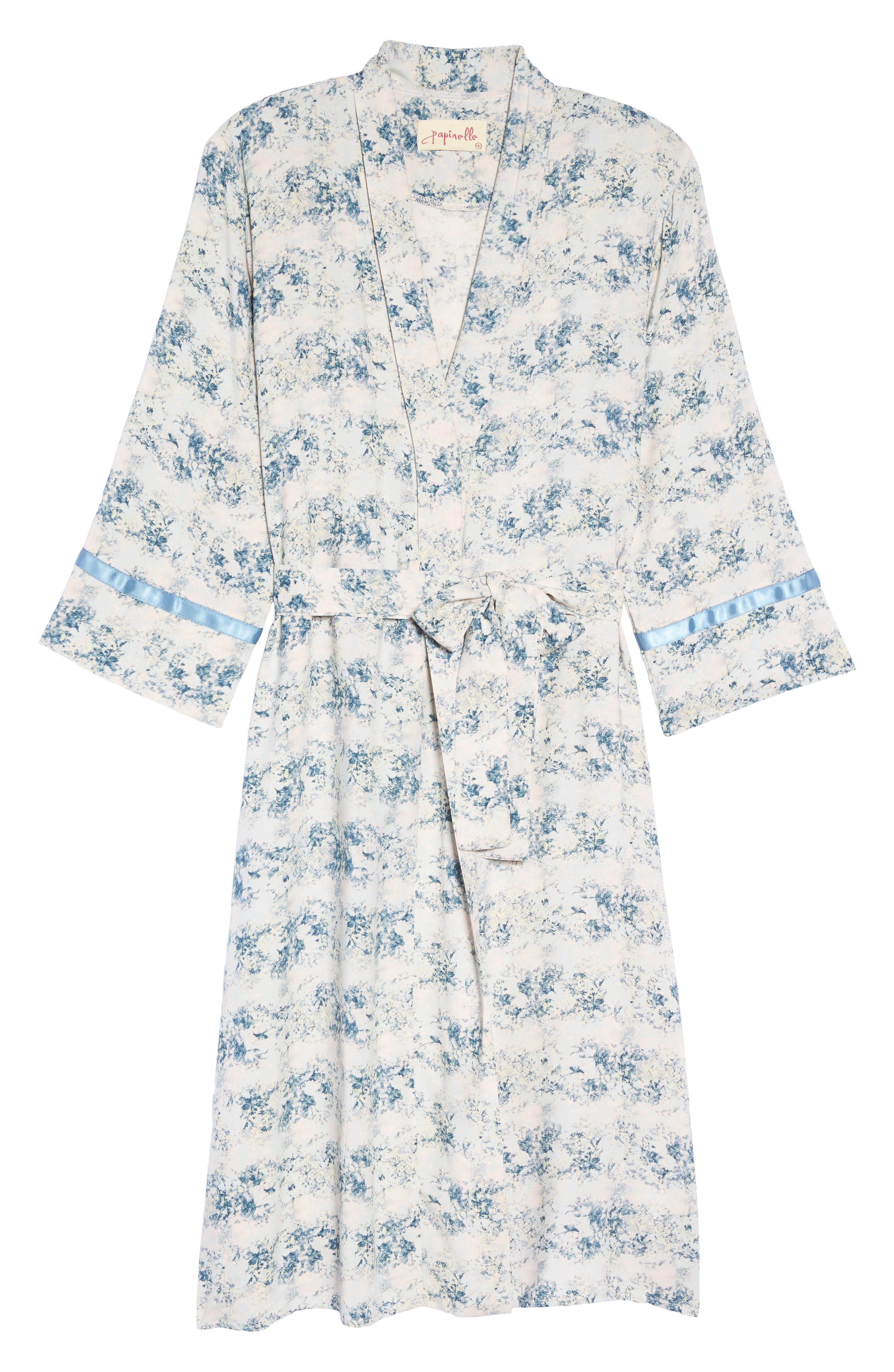 Floral Print Robe,                             Alternate thumbnail 4, color,                             Blue
