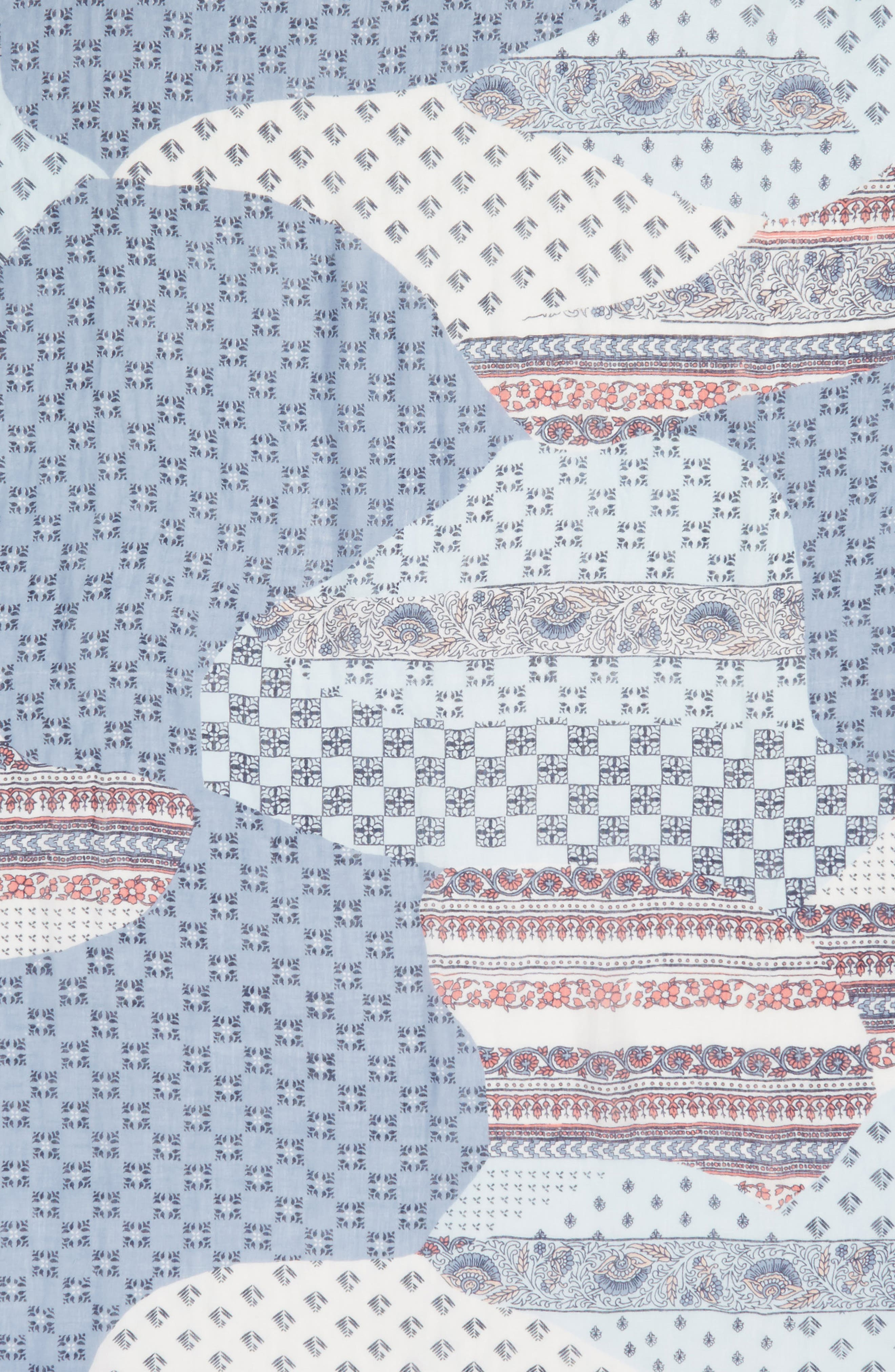 Mixed Print Scarf,                             Alternate thumbnail 4, color,                             Blue Kaleidoscope Mix