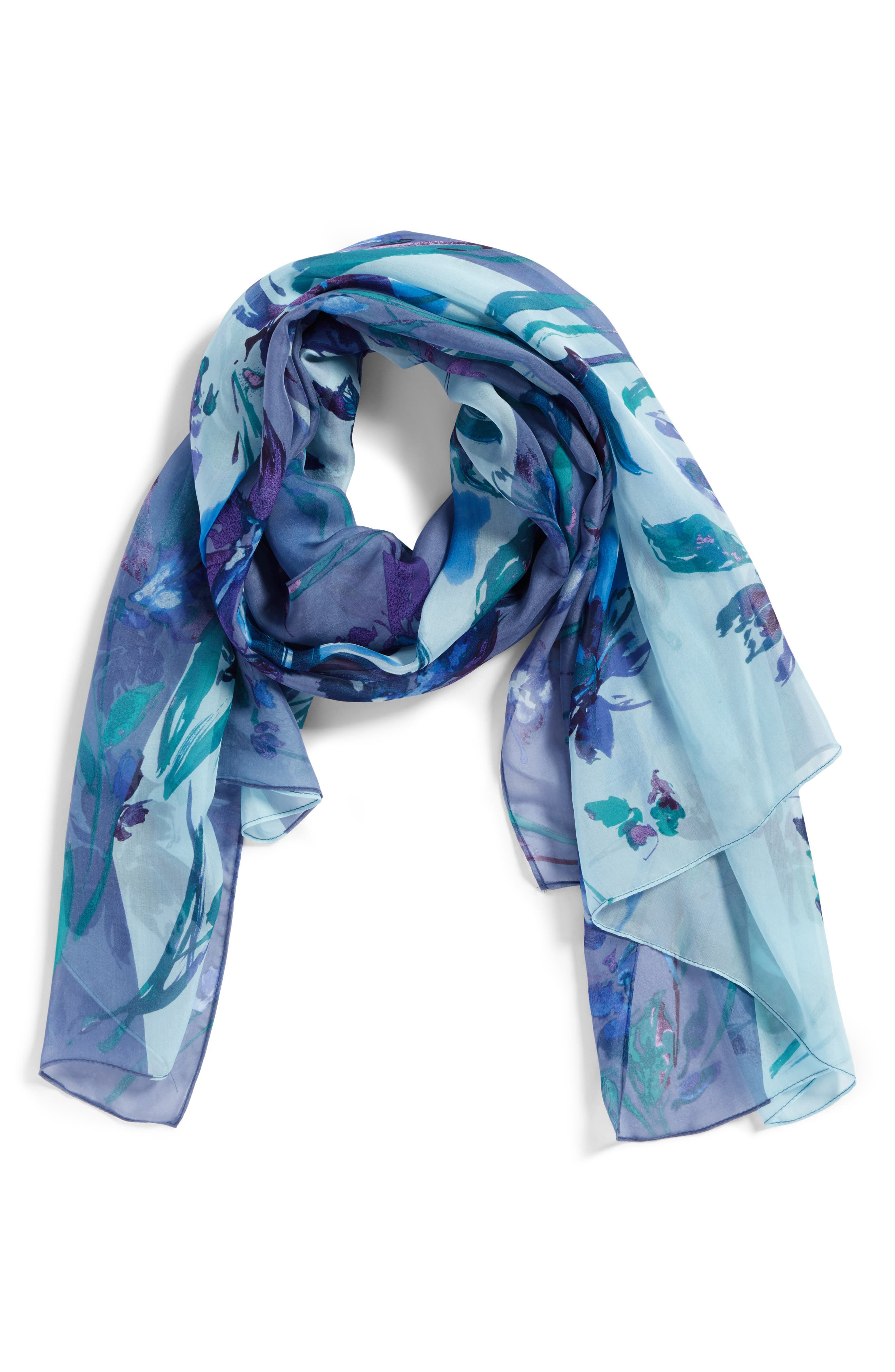 Silk Chiffon Oblong Scarf,                             Alternate thumbnail 2, color,                             Blue Mapped Floral Mix