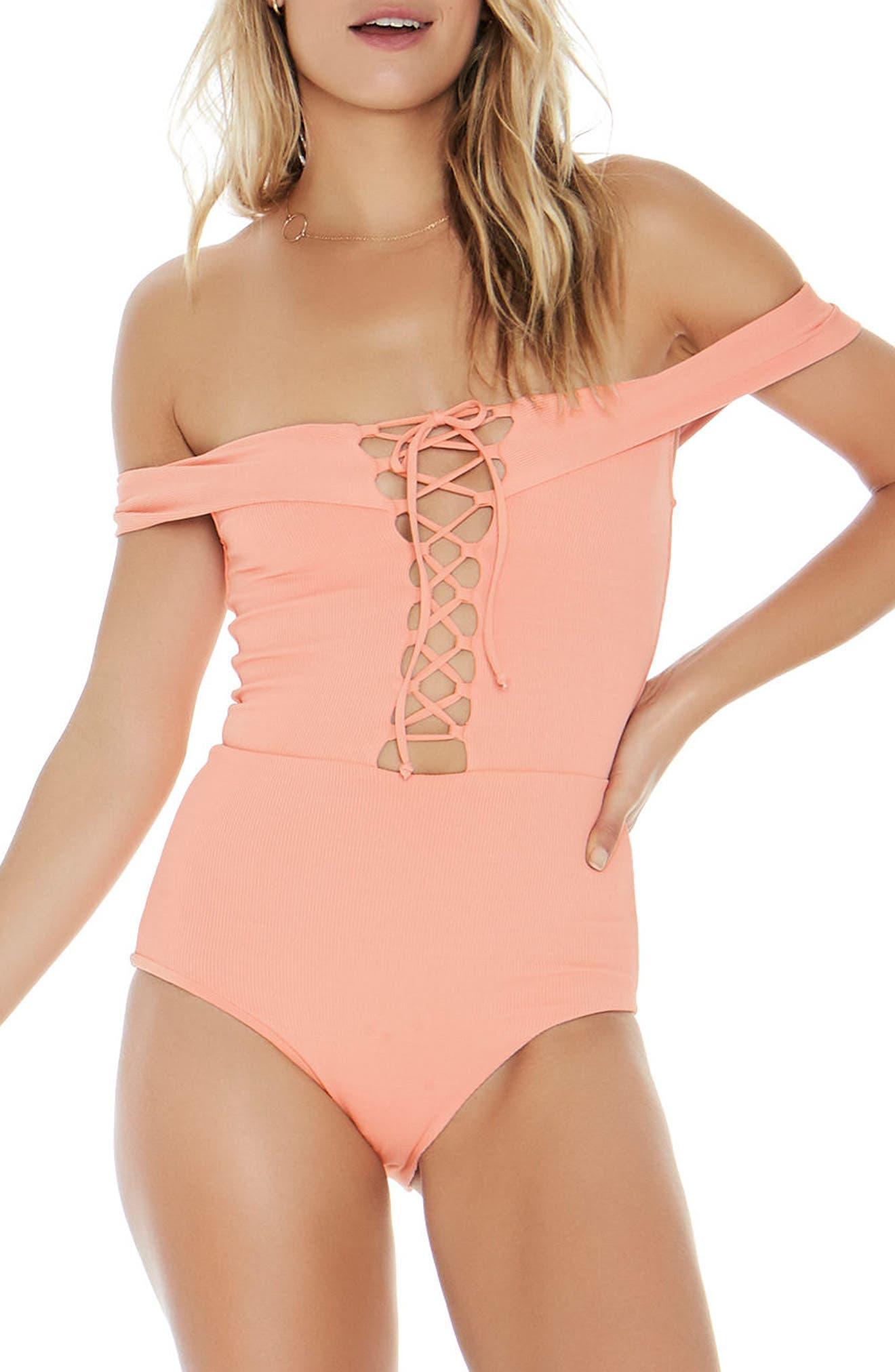 Anja One-Piece Swimsuit,                         Main,                         color, Tropical Peach