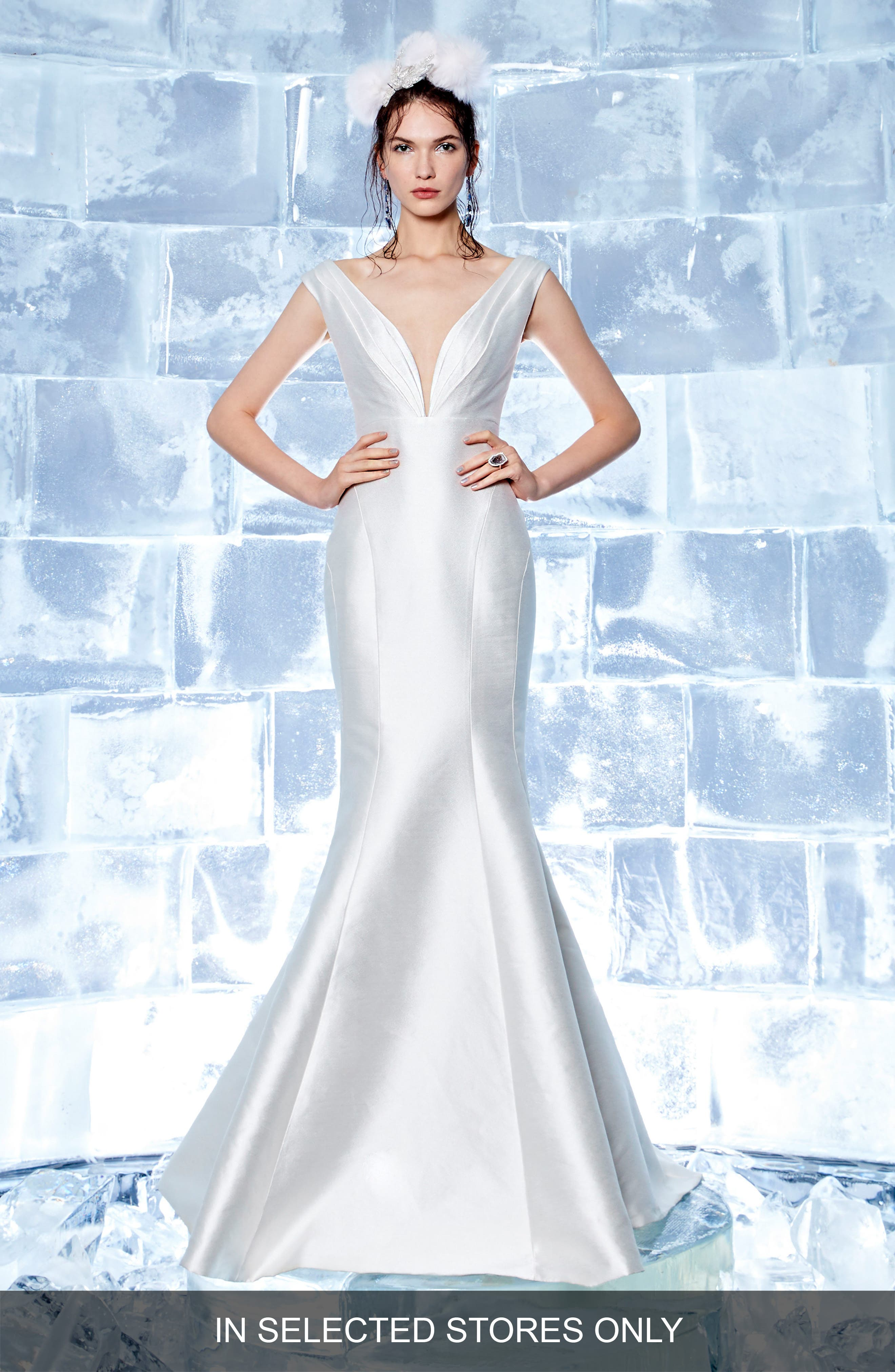 Blanche Duchess Satin Mermaid Gown,                         Main,                         color, Off White
