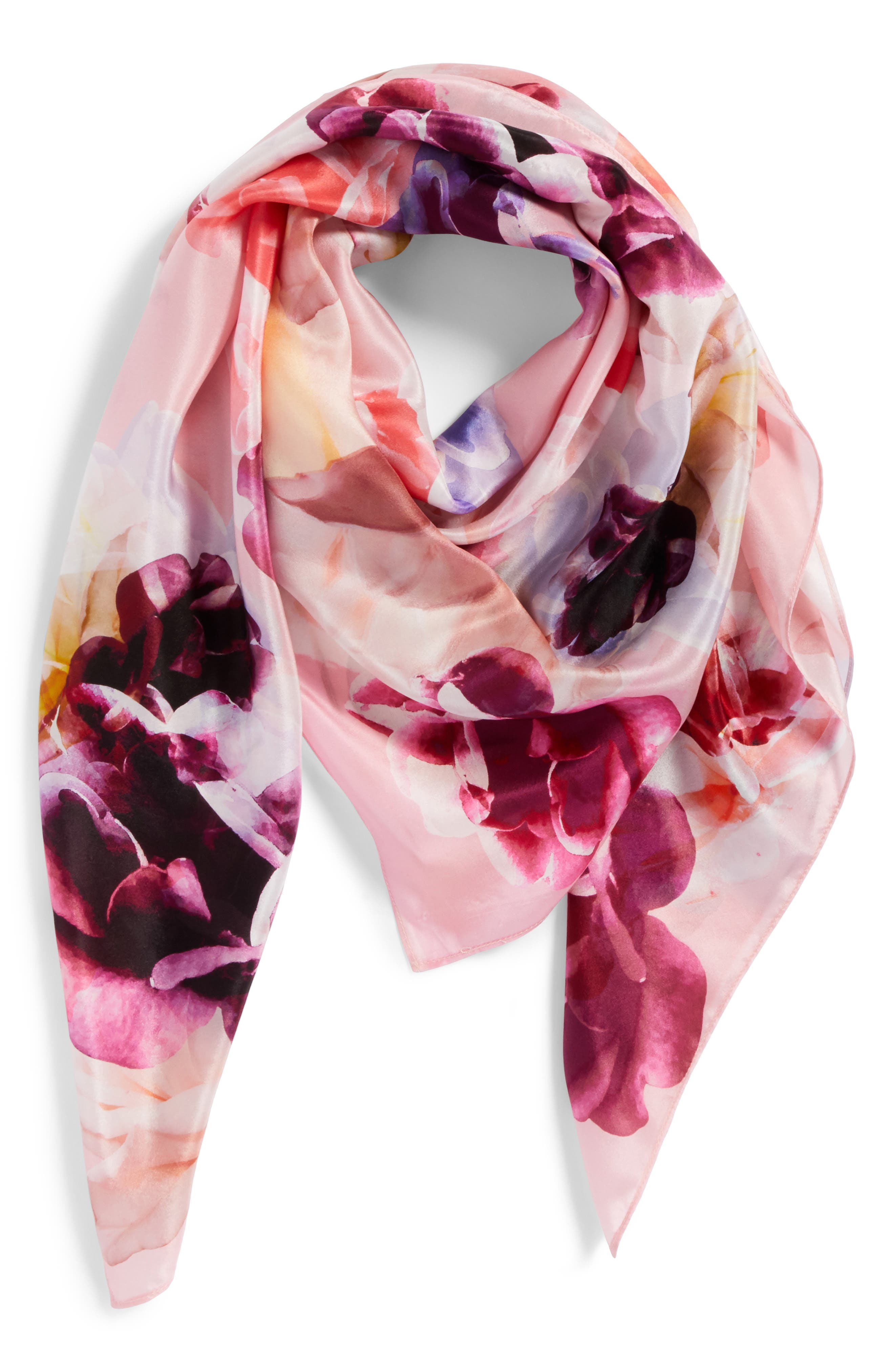 Print Silk Square Scarf,                             Alternate thumbnail 2, color,                             Coral Fresh Blooms