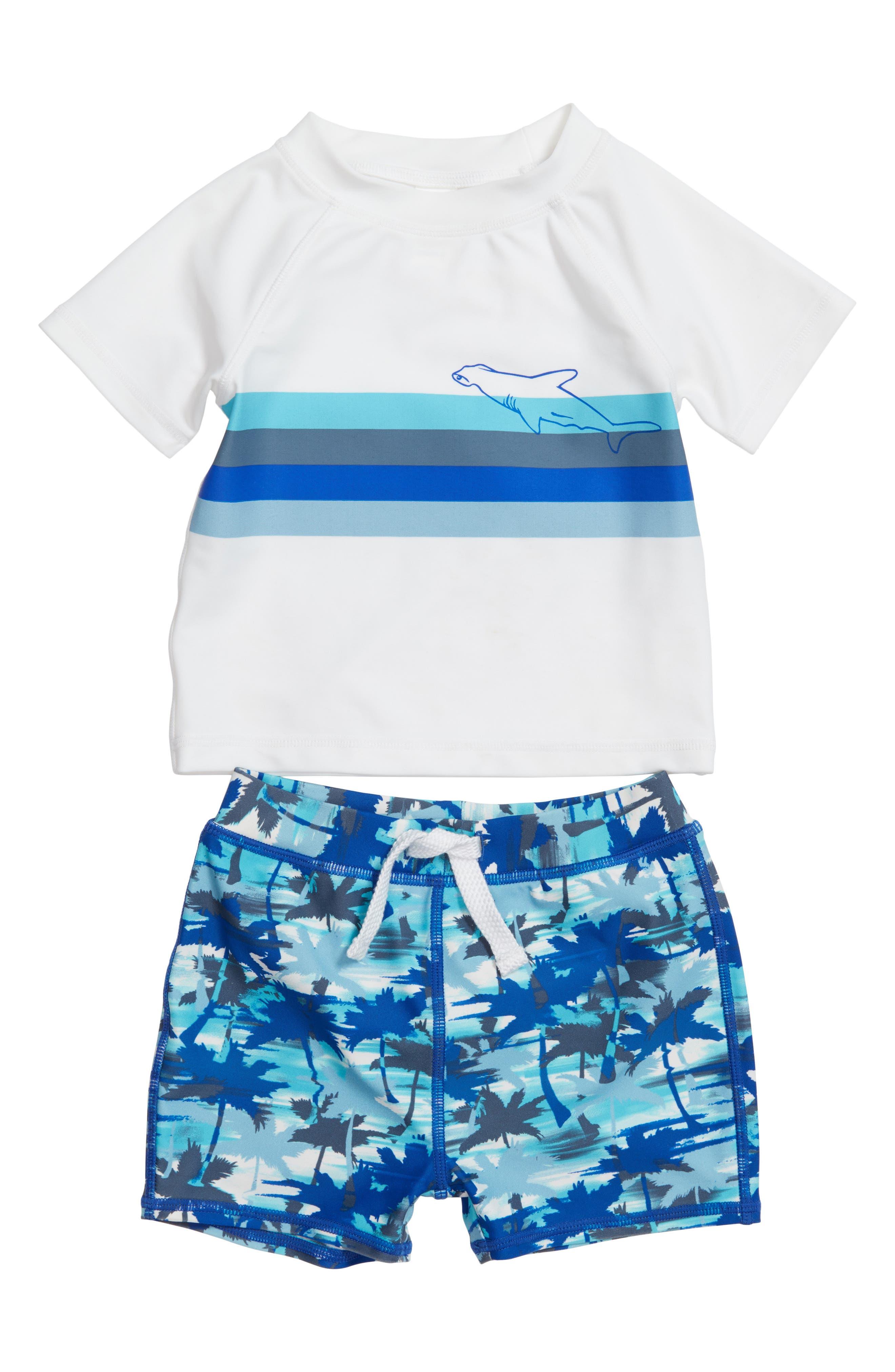 Two-Piece Rashguard Swimsuit,                         Main,                         color, White- Blue Palm Haze