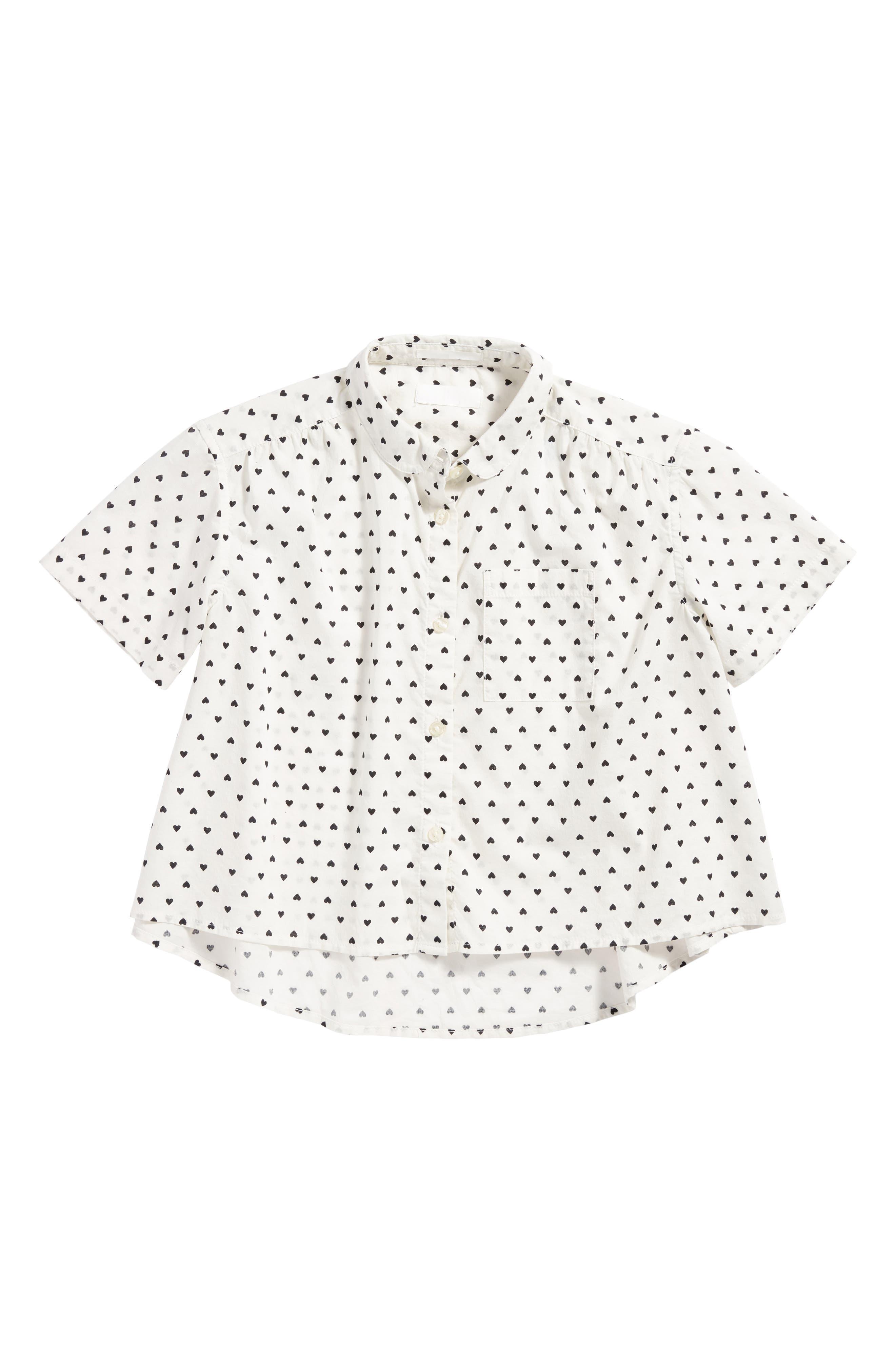 Heart Print Cotton Top,                         Main,                         color, White- Black Hearts