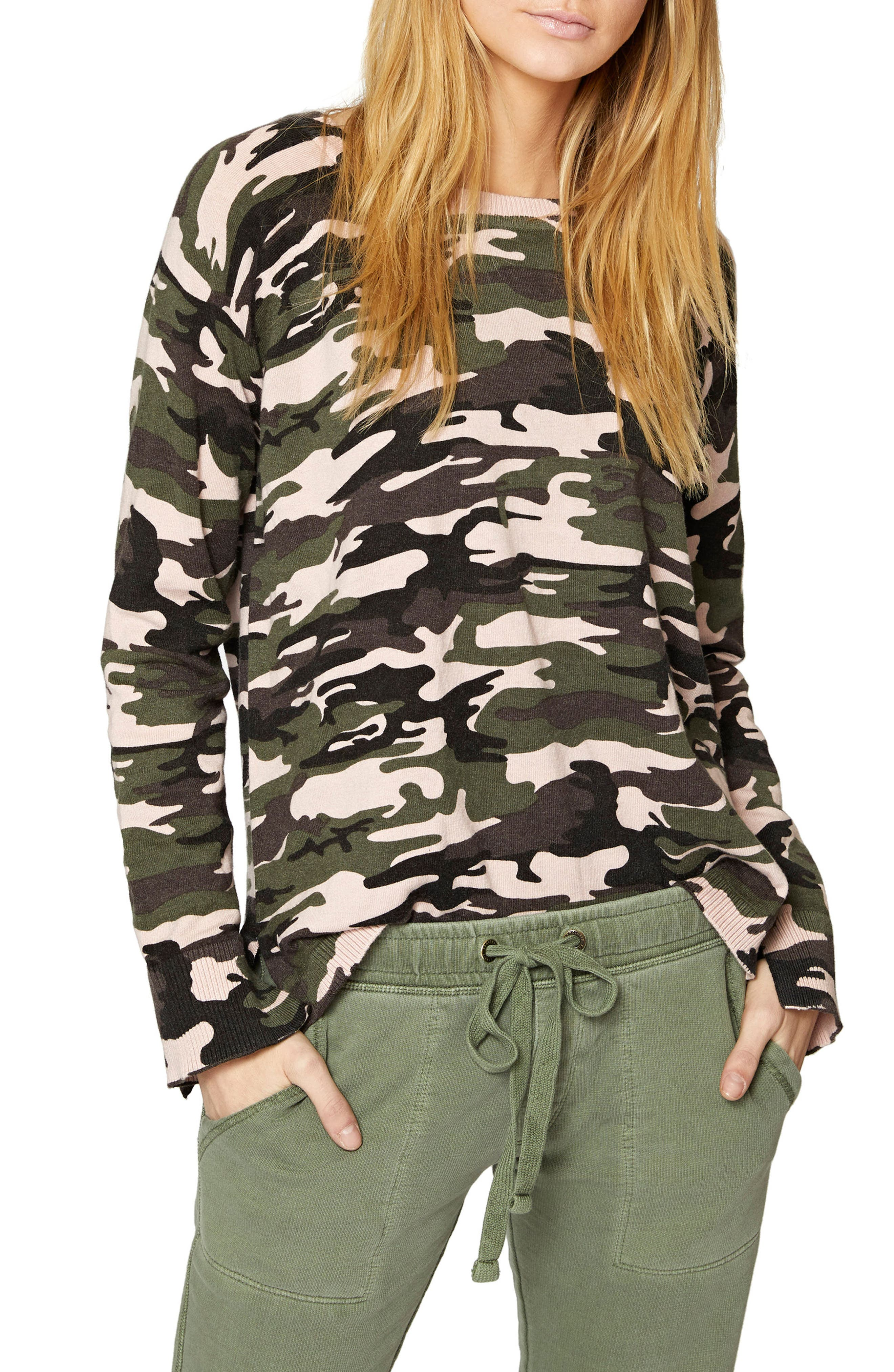 Alternate Image 1 Selected - Sanctuary Trixie Lace-Up Camo Sweater