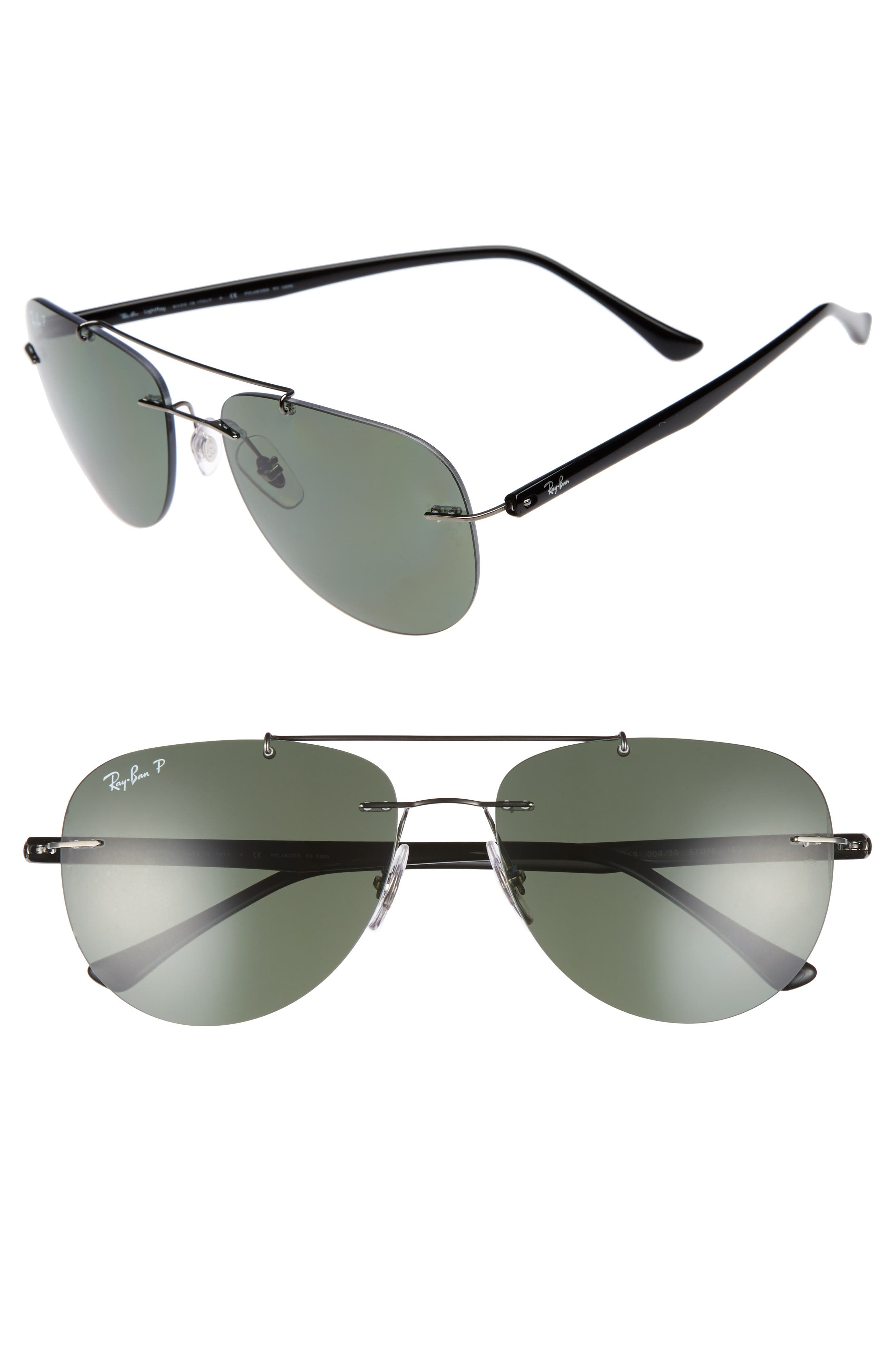 Ray-Ban Phantos 57mm Polarized Rimless Aviator Sunglasses