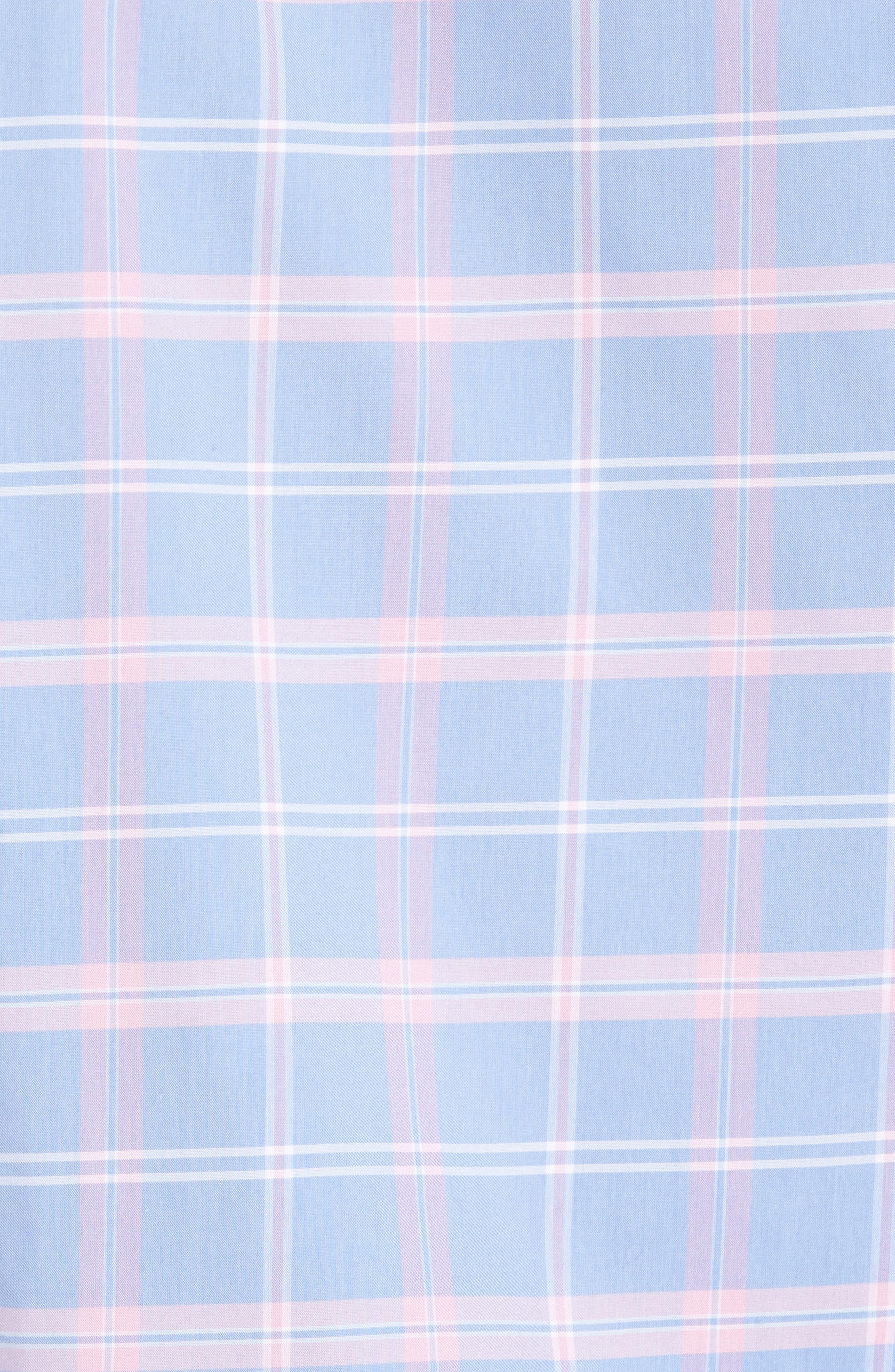Smartcare<sup>™</sup> Regular Fit Plaid Sport Shirt,                             Alternate thumbnail 5, color,                             Blue Dusk Pink Plaid