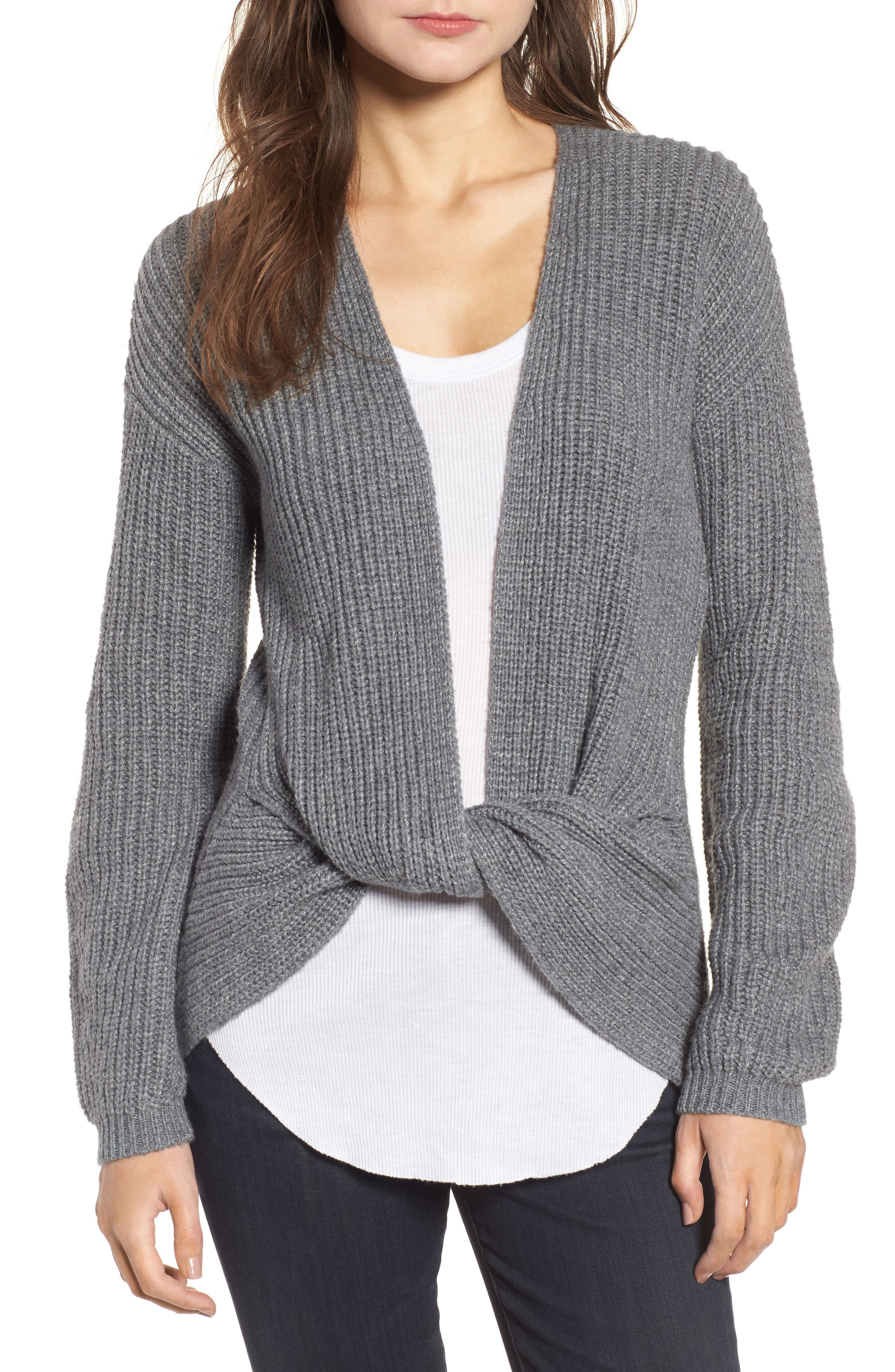 Twist Front Sweater,                         Main,                         color, Grey Dark Heather