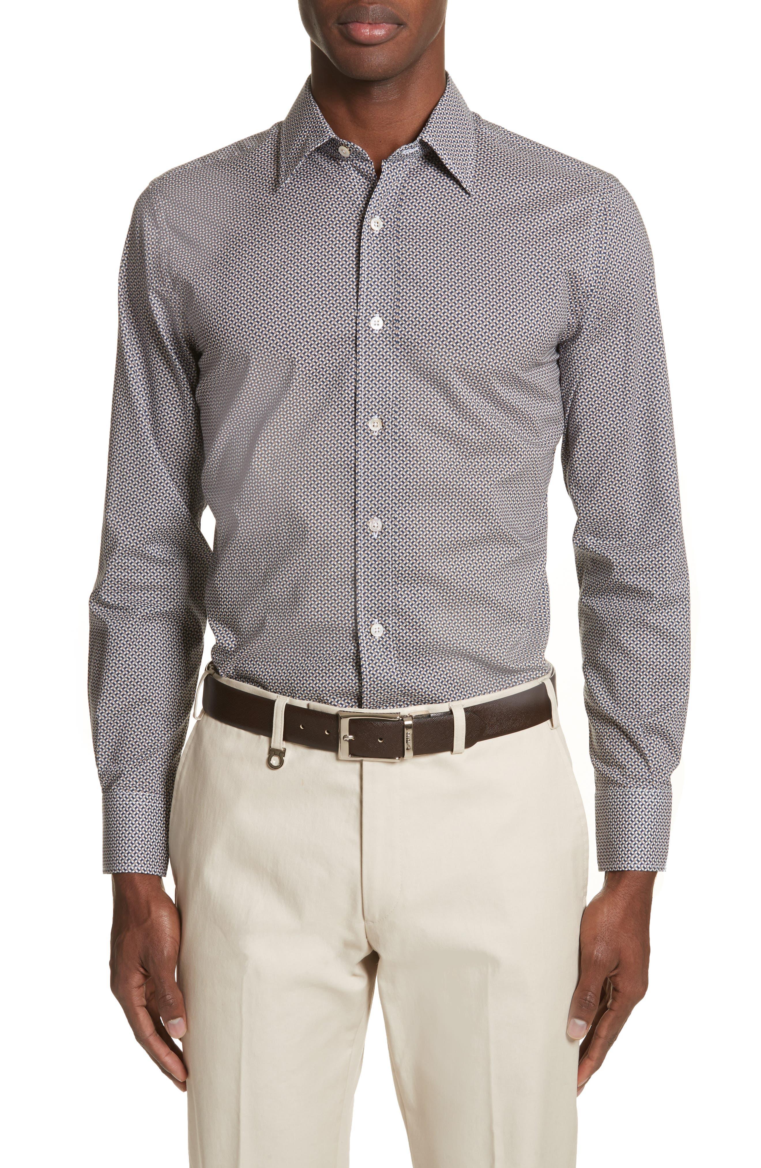 Regular Fit Print Sport Shirt,                         Main,                         color, Dark Beige