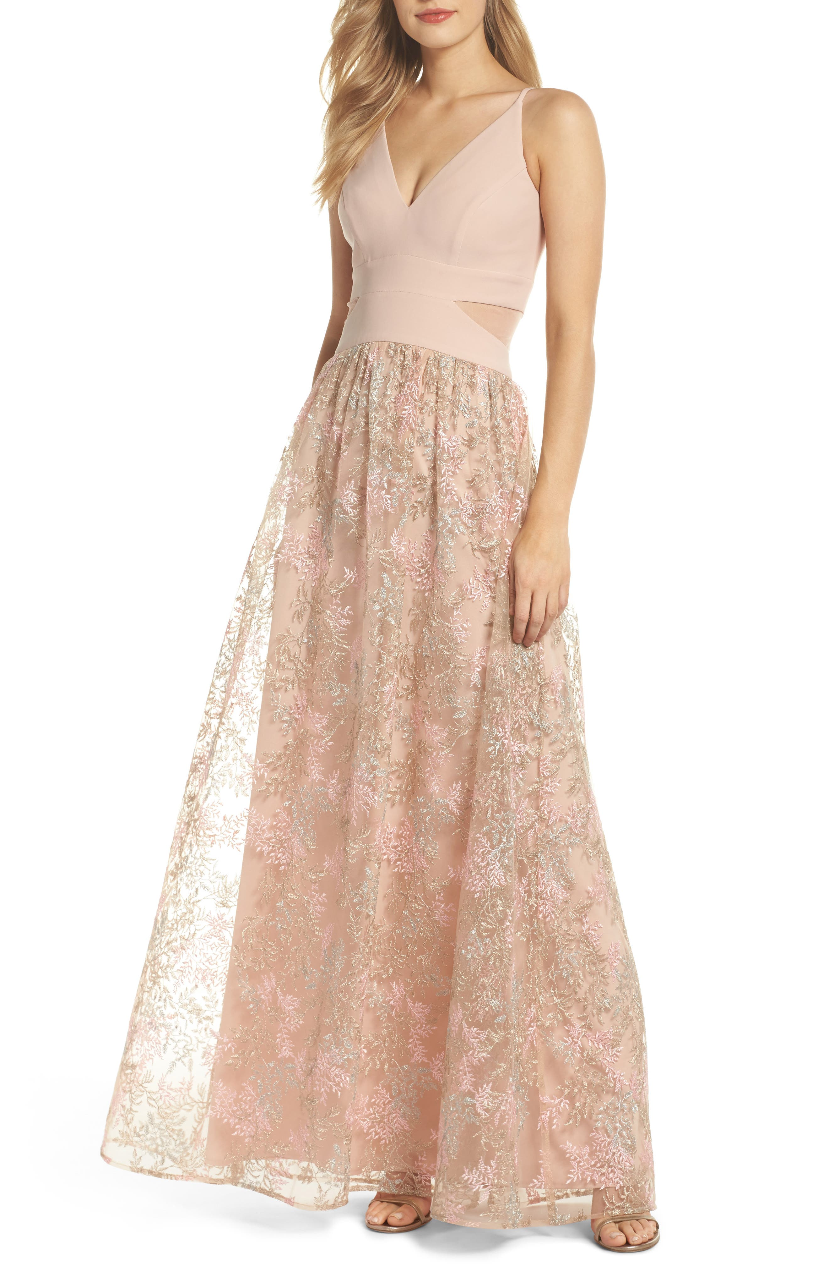 Mesh Inset Embroidered Gown,                             Main thumbnail 1, color,                             Blush/ Multi