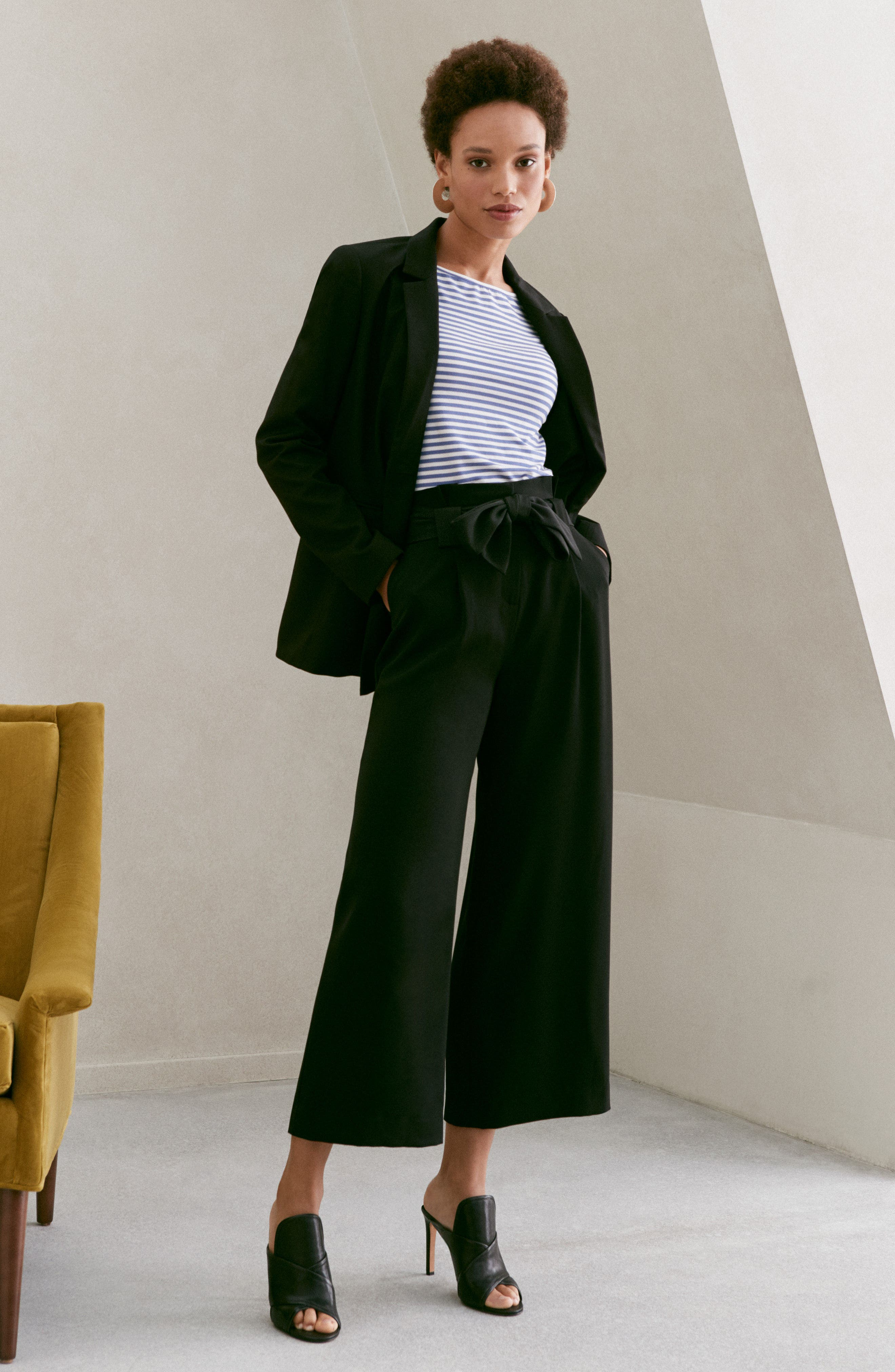 Belted Wide Leg Crop Pants,                             Alternate thumbnail 3, color,                             Black