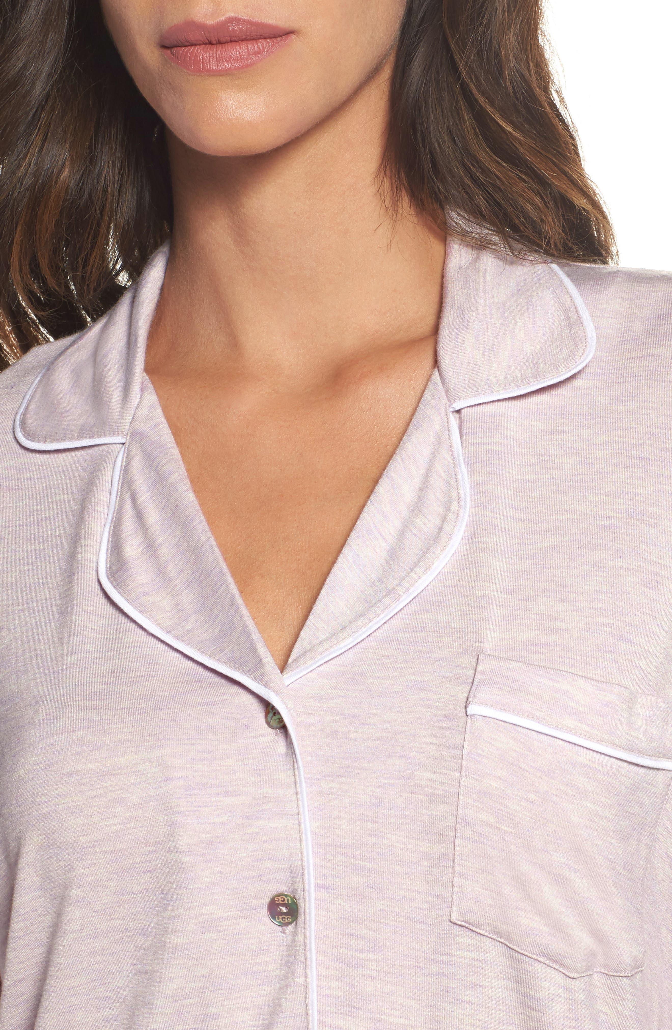 Lenon Jersey Pajamas,                             Alternate thumbnail 5, color,                             Lavender Fog Heather