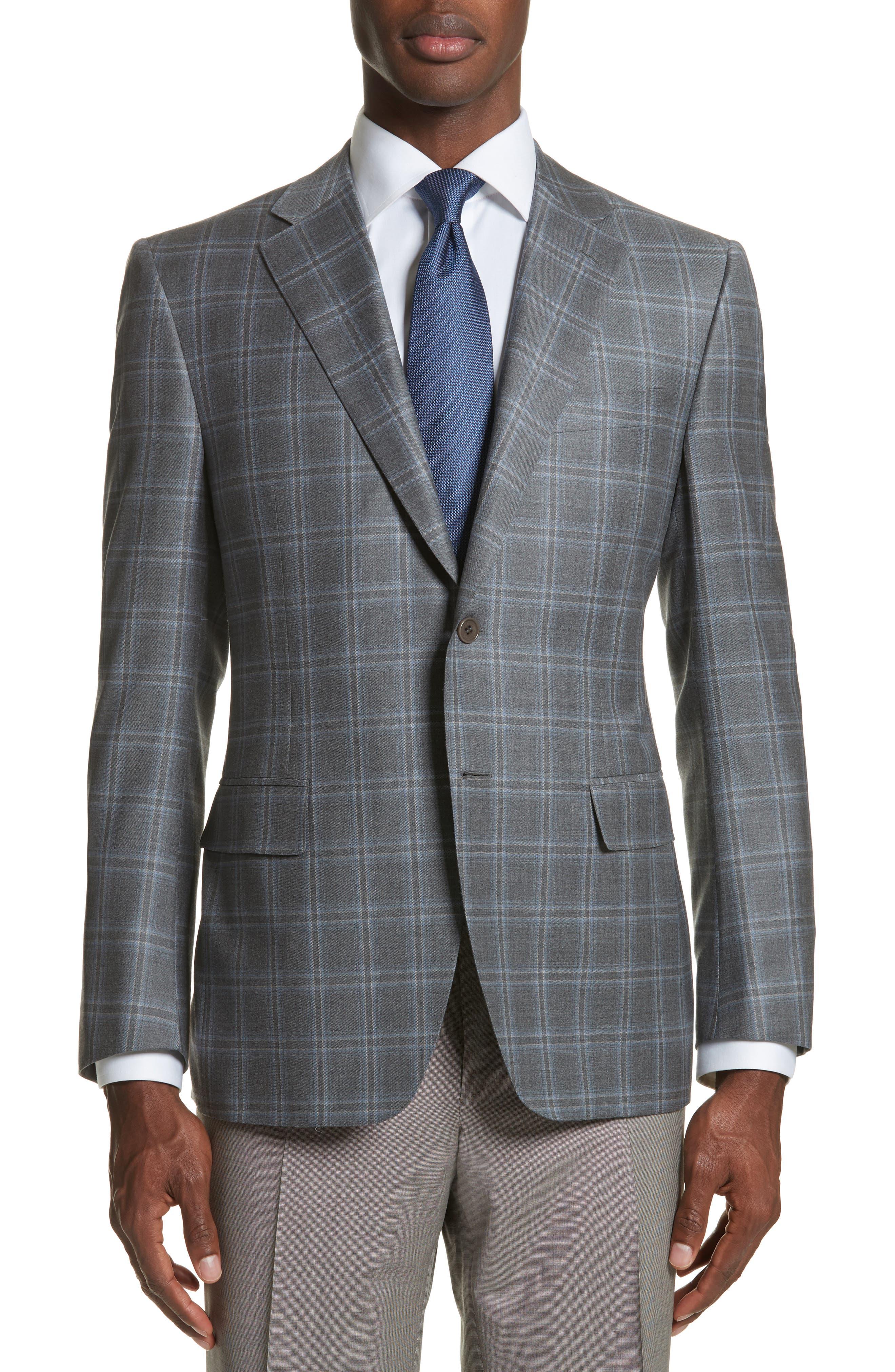 Classic Fit Plaid Wool Sport Coat,                             Main thumbnail 1, color,                             Grey
