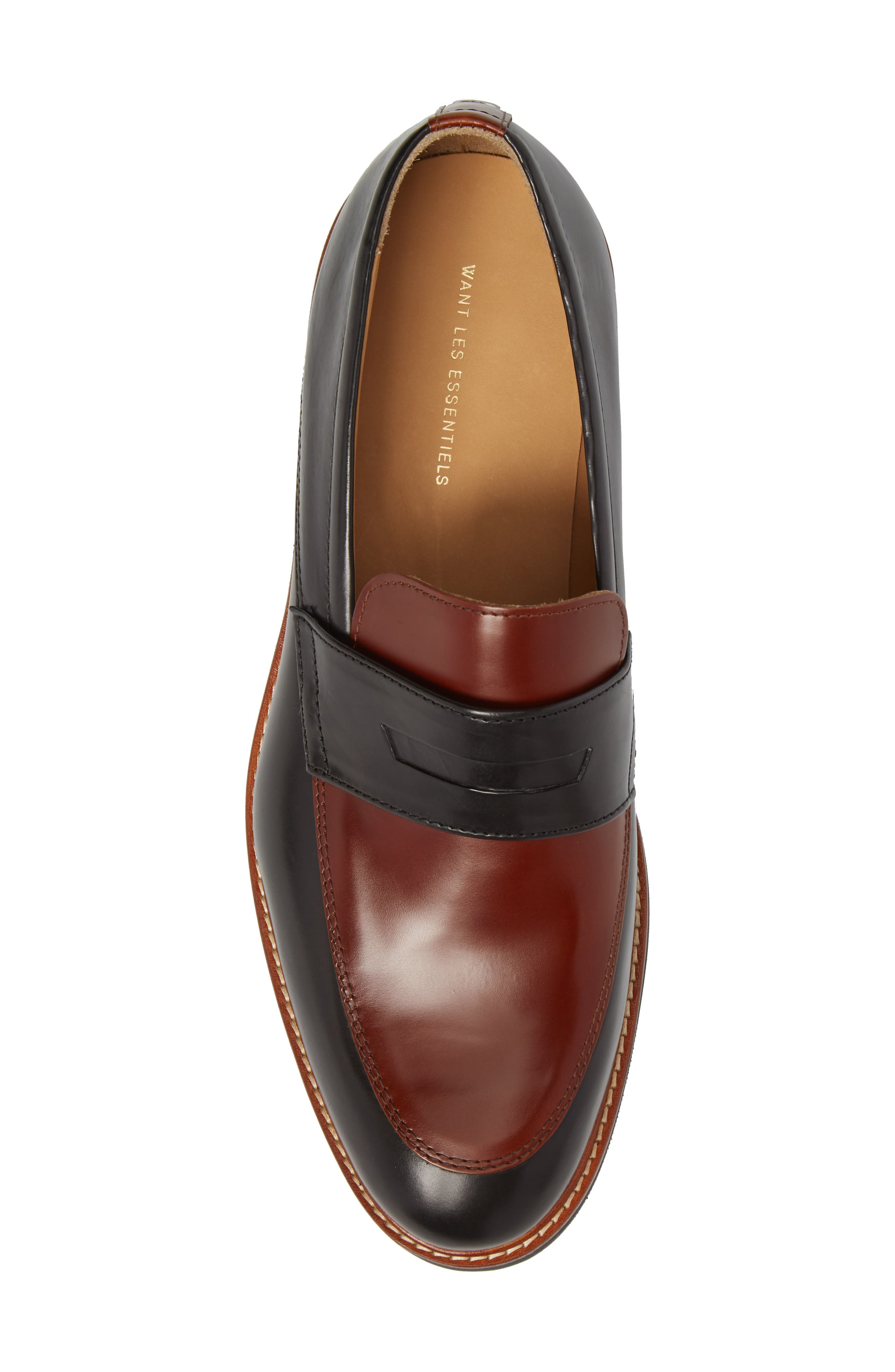 Marcus Penny Loafer,                             Alternate thumbnail 5, color,                             Black/ Cognac