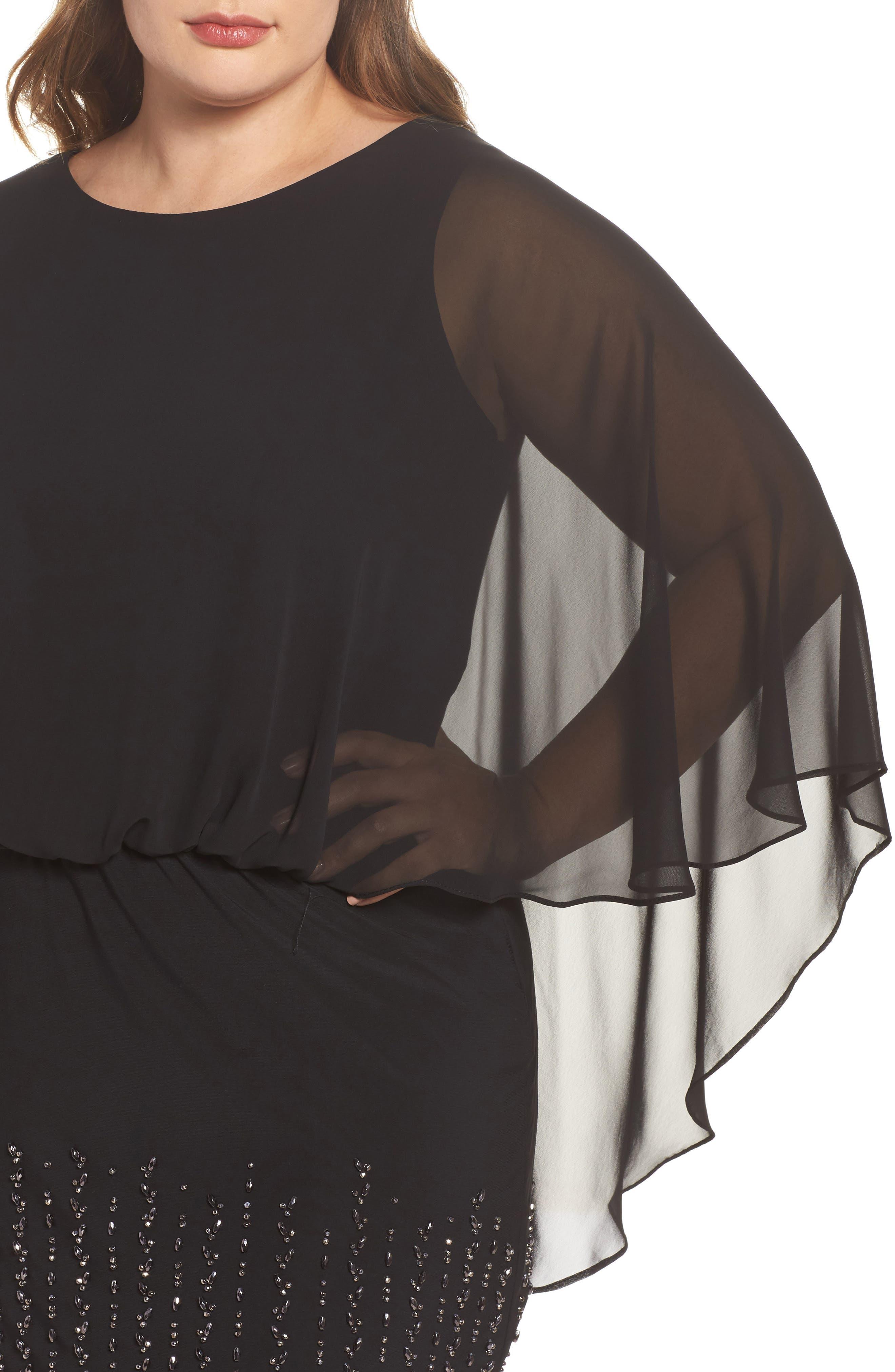 Beaded Overlay Dress,                             Alternate thumbnail 4, color,                             Black