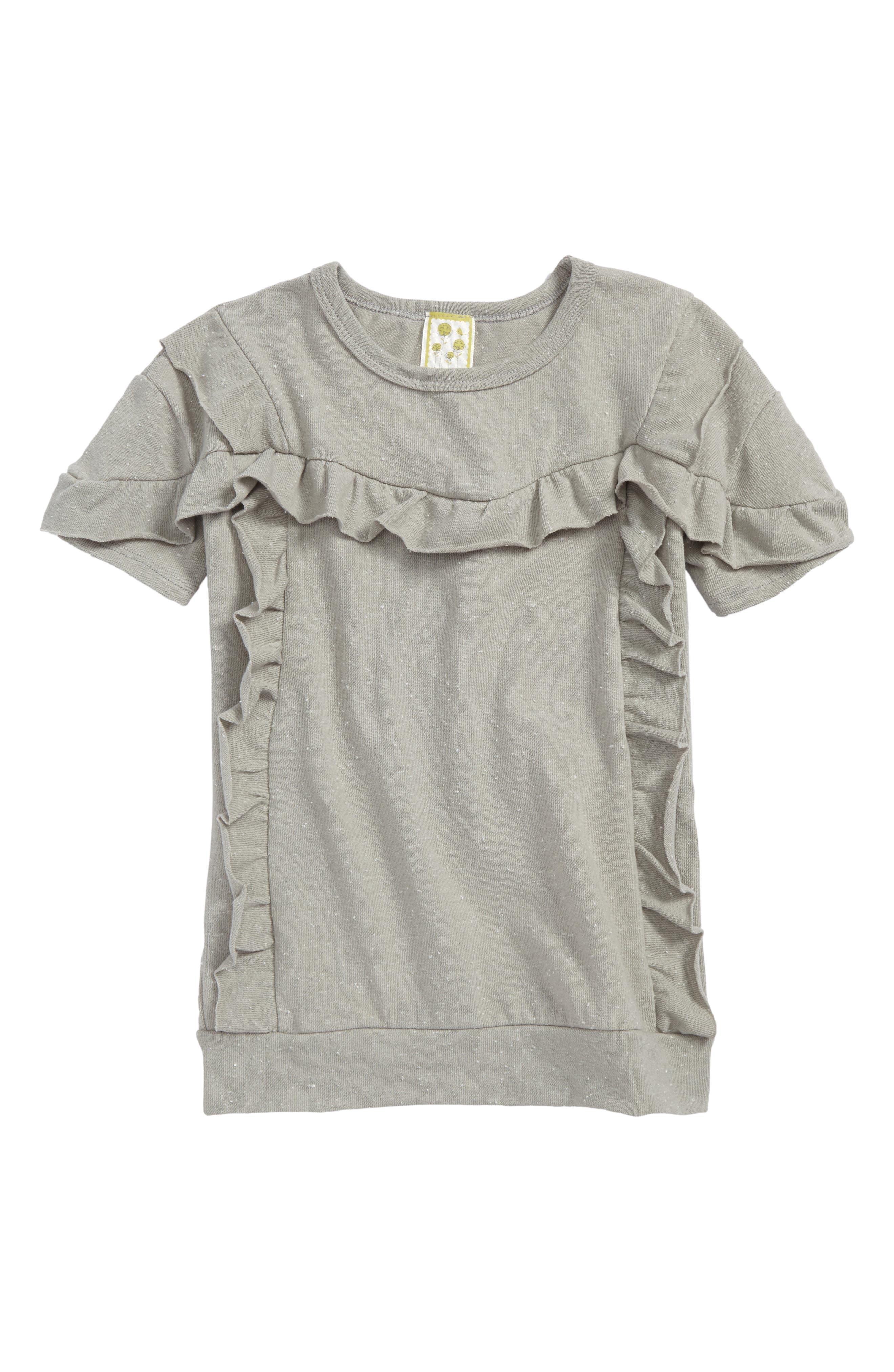 Raw Edge Ruffle Top,                         Main,                         color, Grey