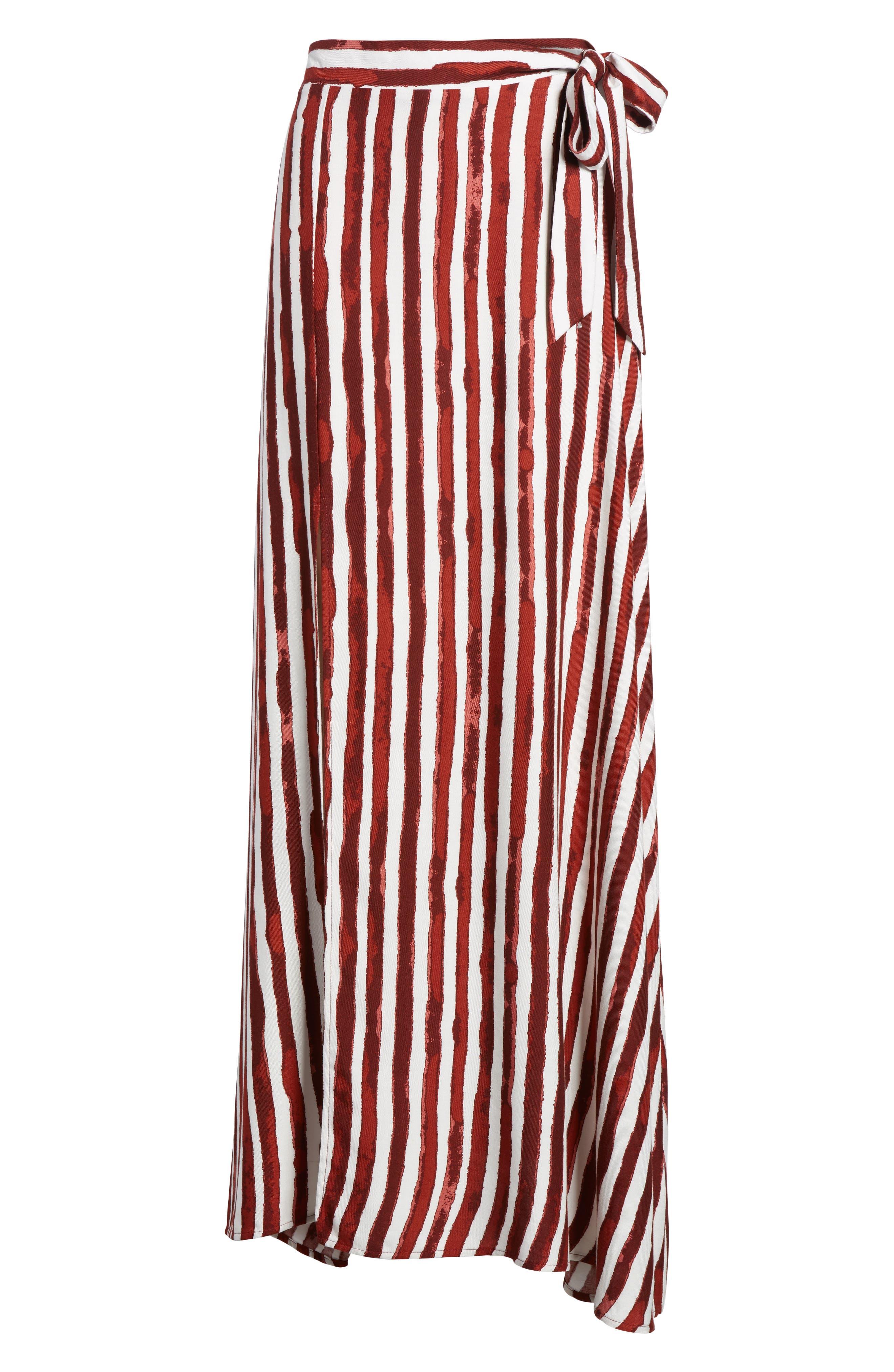 Maxi Skirt,                             Alternate thumbnail 8, color,                             Burgundy/ Ivory