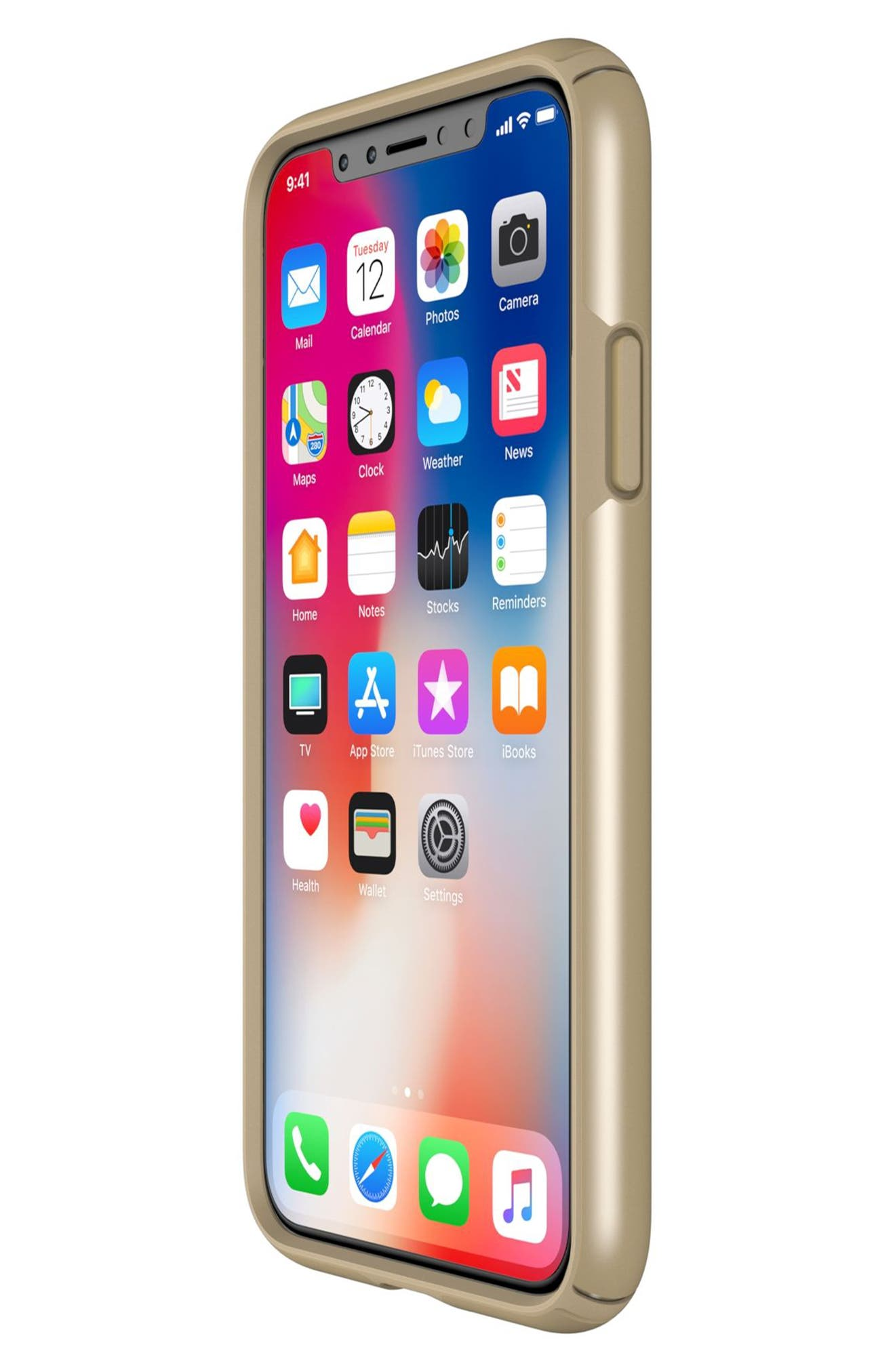 iPhone X Case,                             Alternate thumbnail 7, color,                             Pale Yellow Gold/ Brown