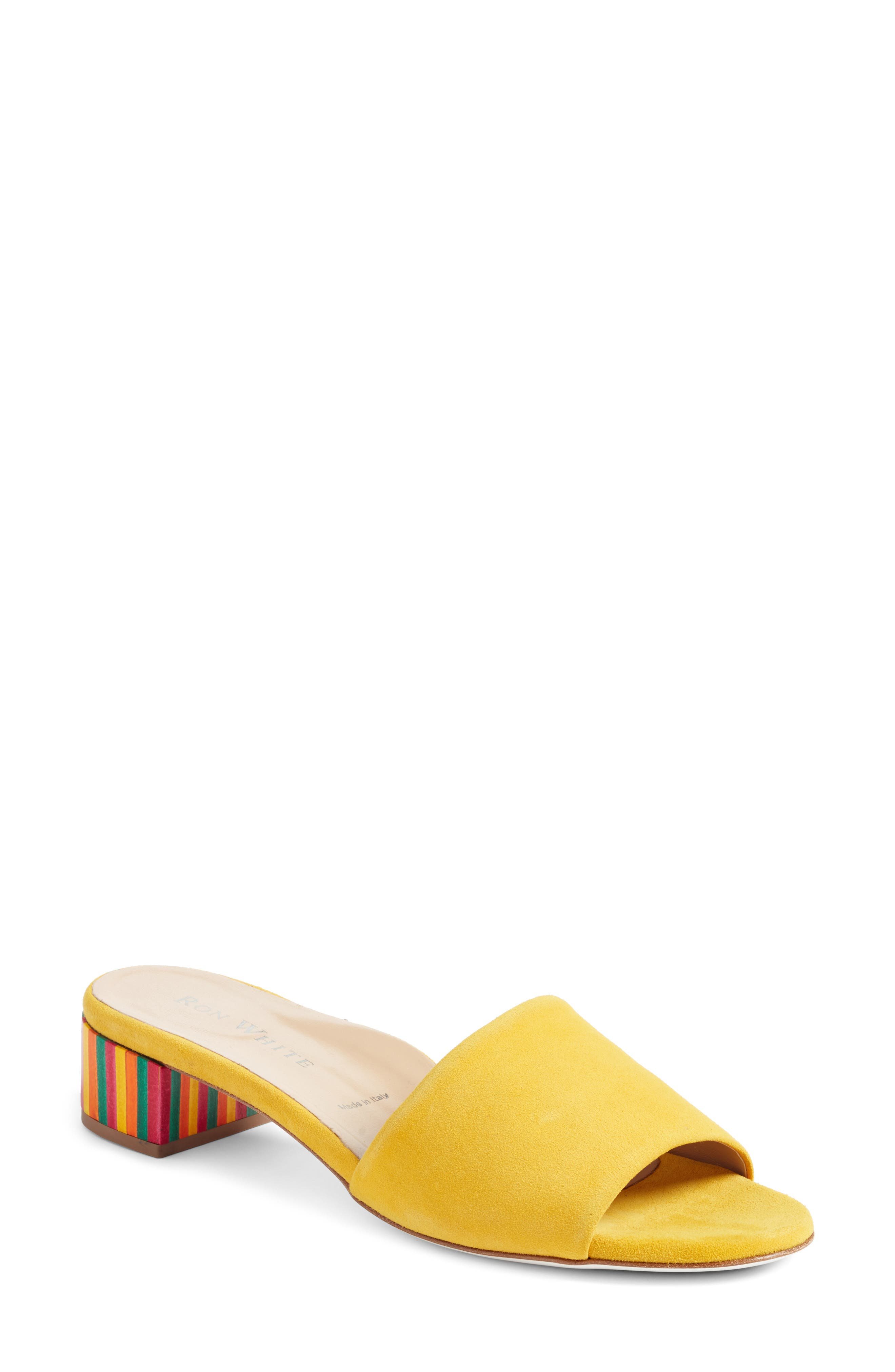 Esmarie Slide Sandal,                         Main,                         color, Lemon Suede