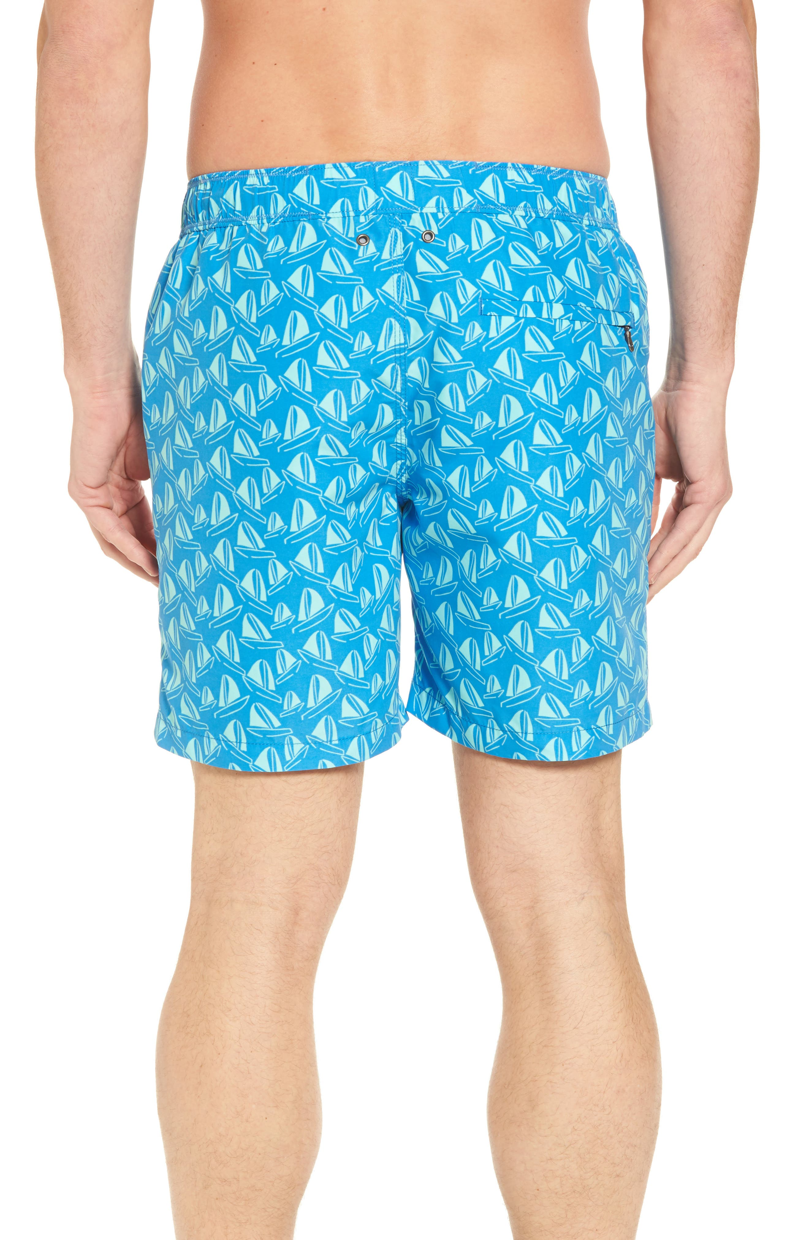Boat Print Swim Trunks,                             Alternate thumbnail 2, color,                             French Blue And Sky