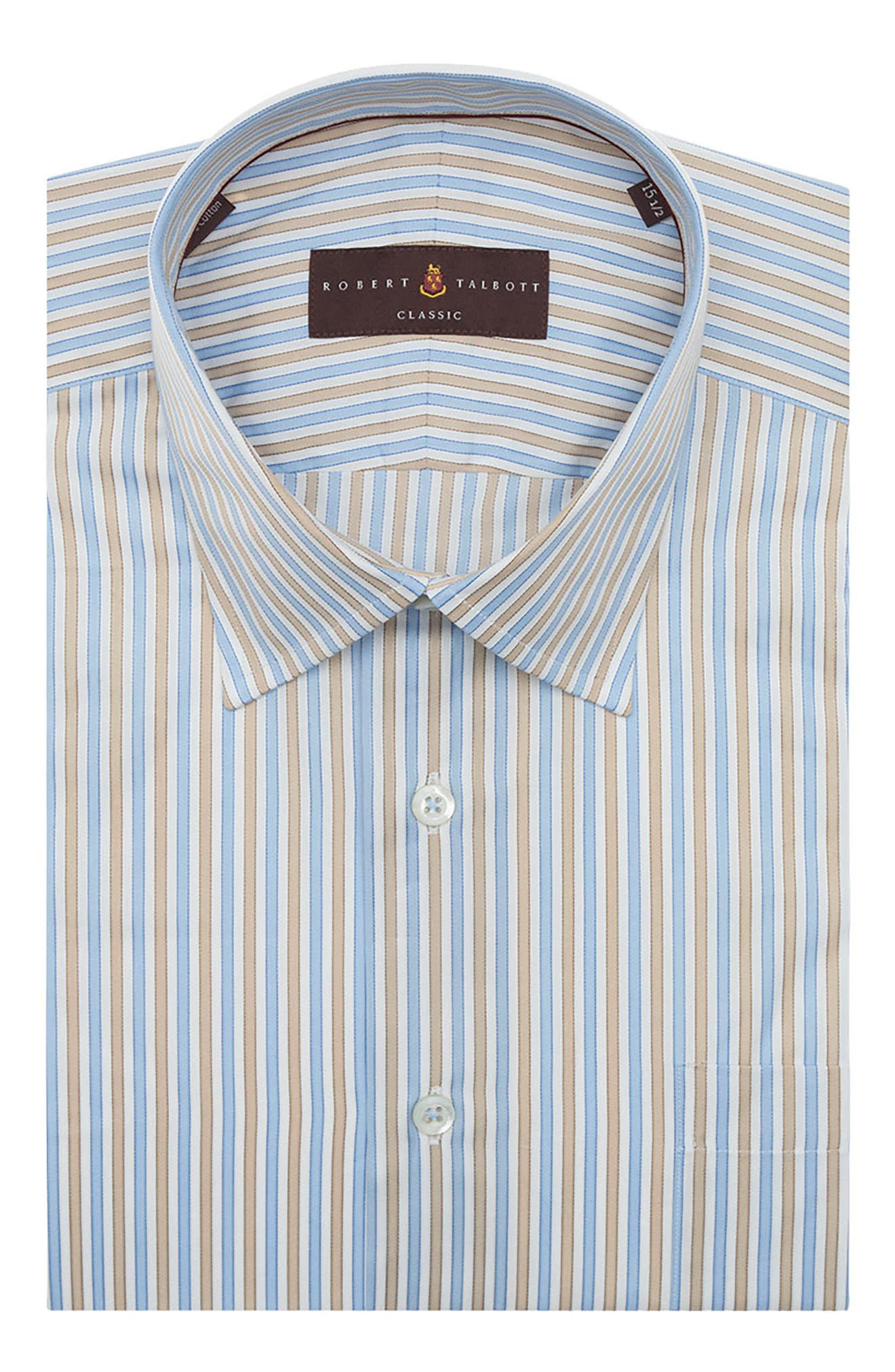 Tailored Fit Stripe Dress Shirt,                         Main,                         color, Sand