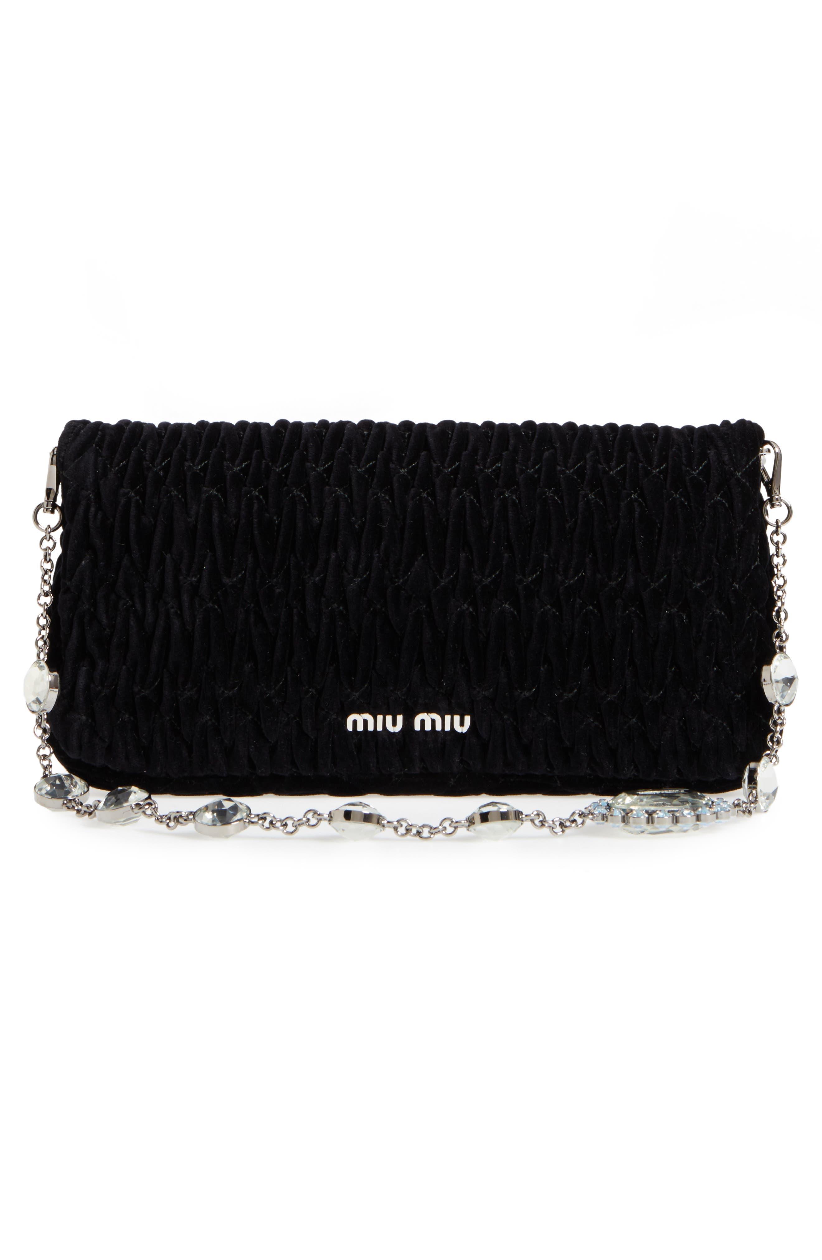 Alternate Image 3  - Miu Miu Crystal Embellished Matelassé Velvet Shoulder Bag