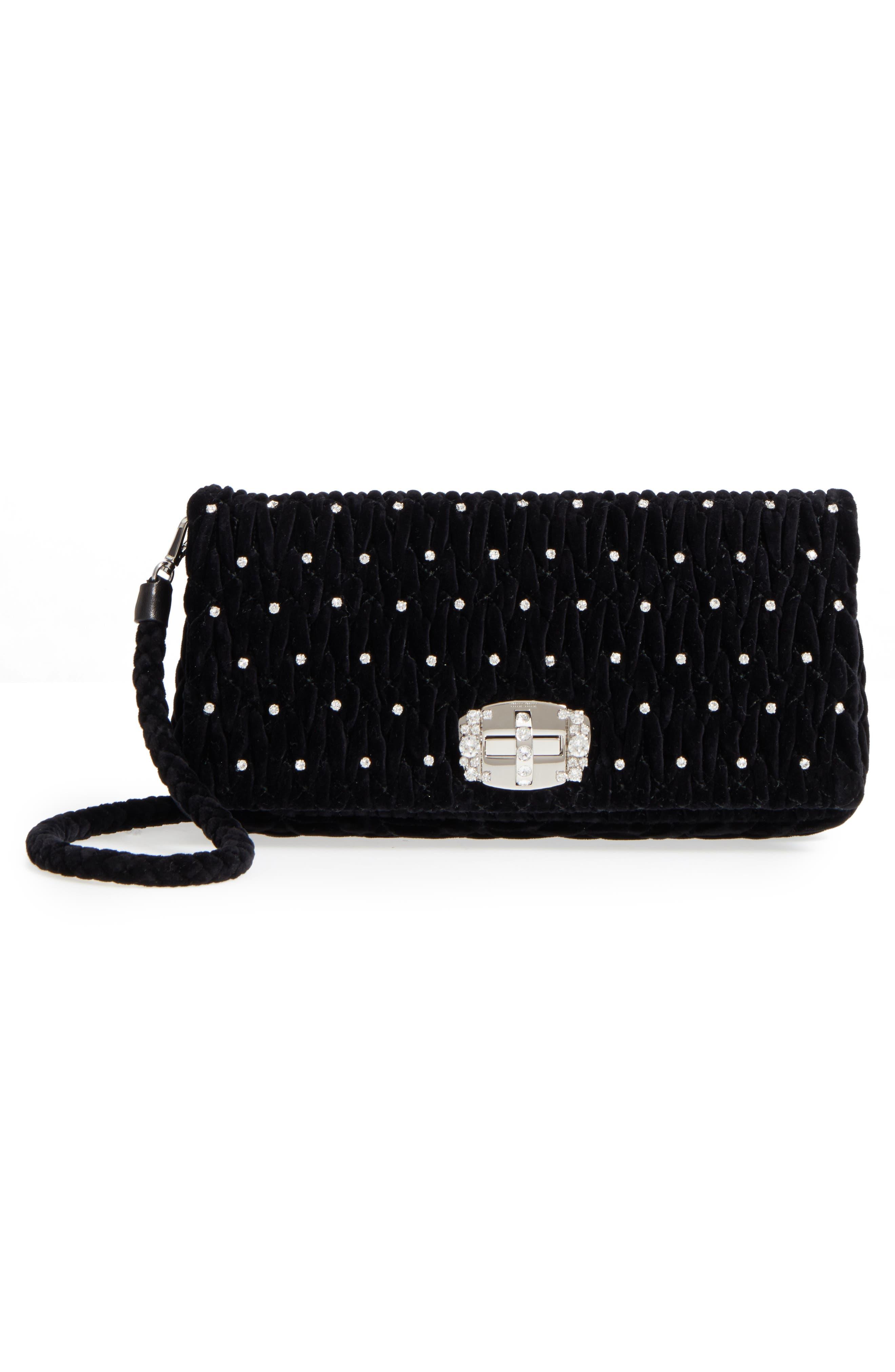 Alternate Image 4  - Miu Miu Crystal Embellished Matelassé Velvet Shoulder Bag