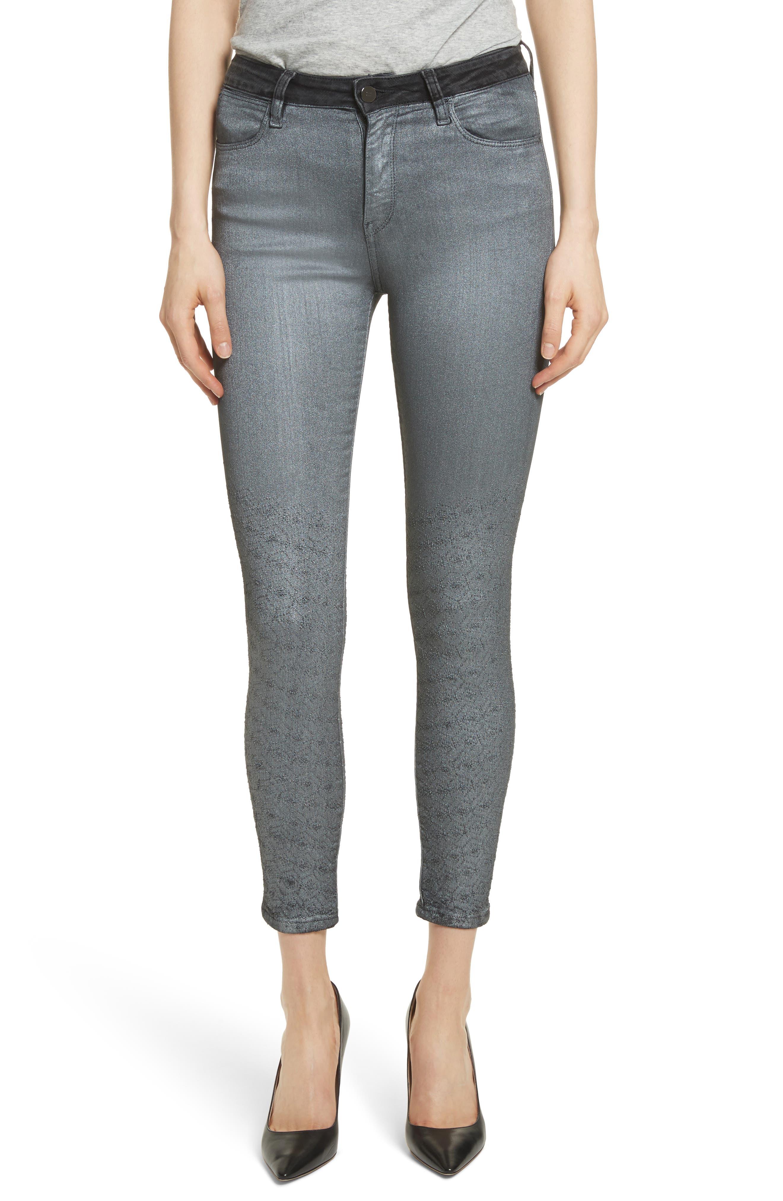 Reina Glitter Skinny Jeans,                         Main,                         color, Black Used Glitter Silver