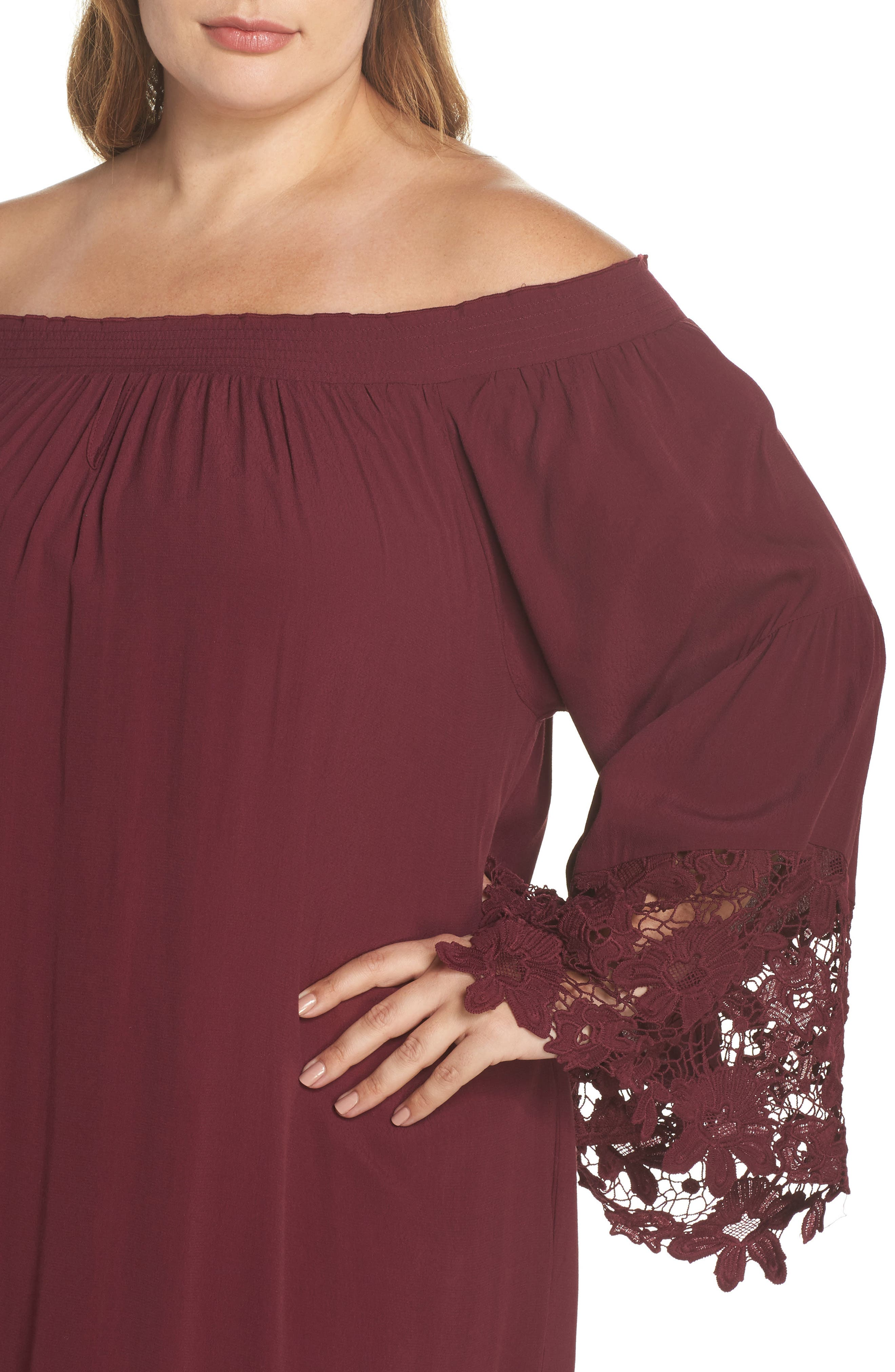 Jolie Lace Accent Cover-Up Dress,                             Alternate thumbnail 4, color,                             Burgundy