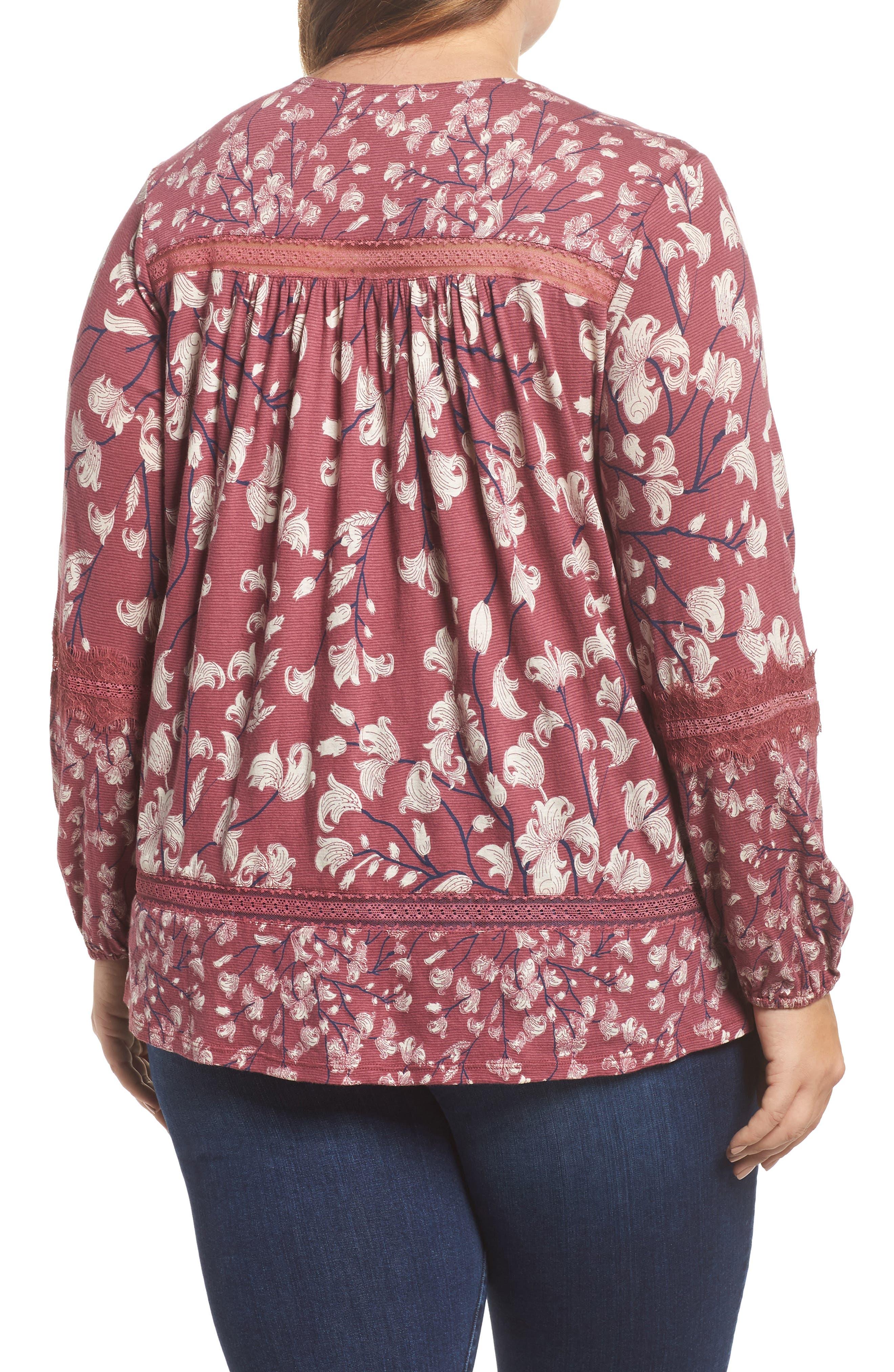 Lace Inset Print Top,                             Alternate thumbnail 2, color,                             Blush Multi